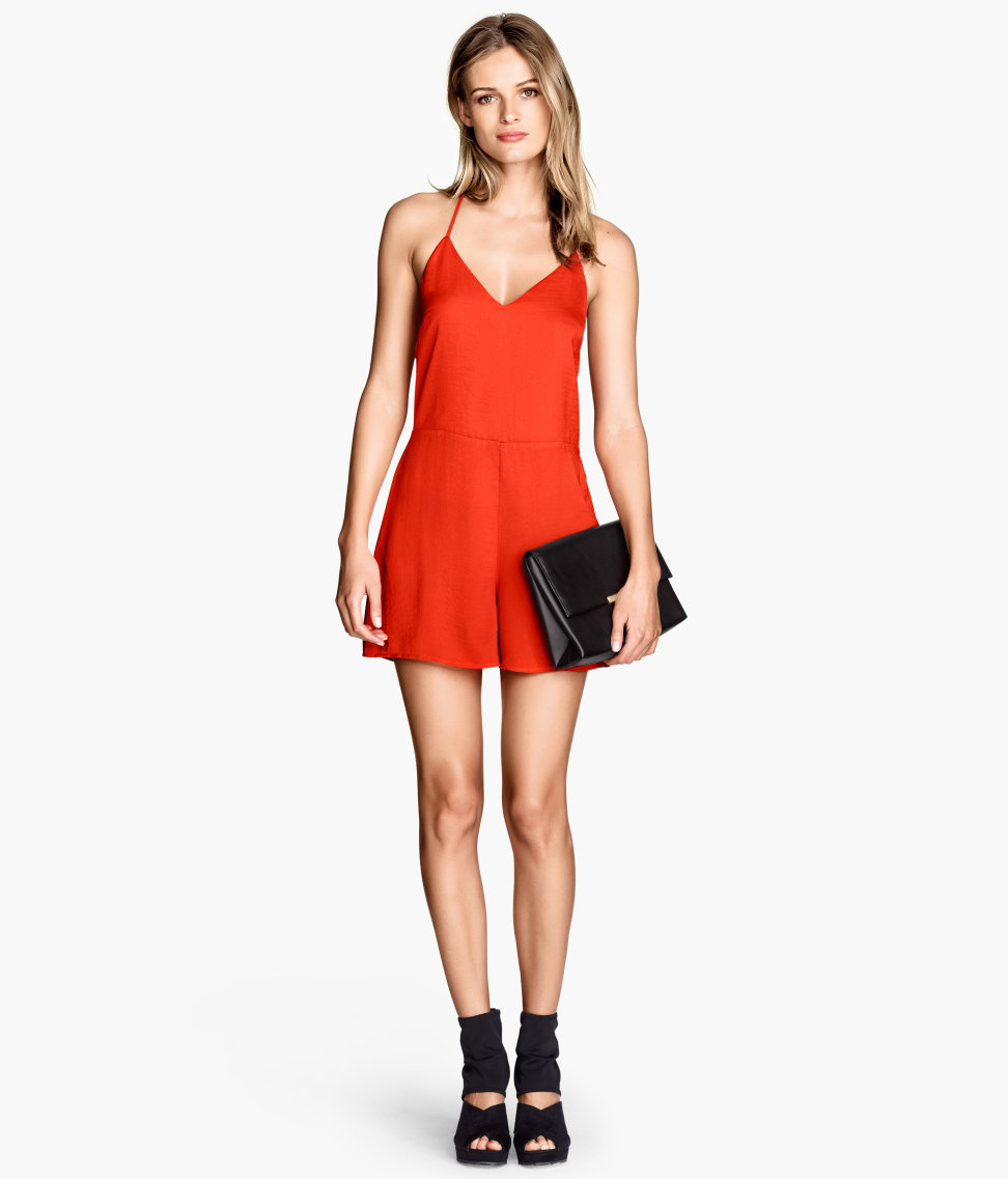 Orange Romper Jumpsuit - Breeze Clothing