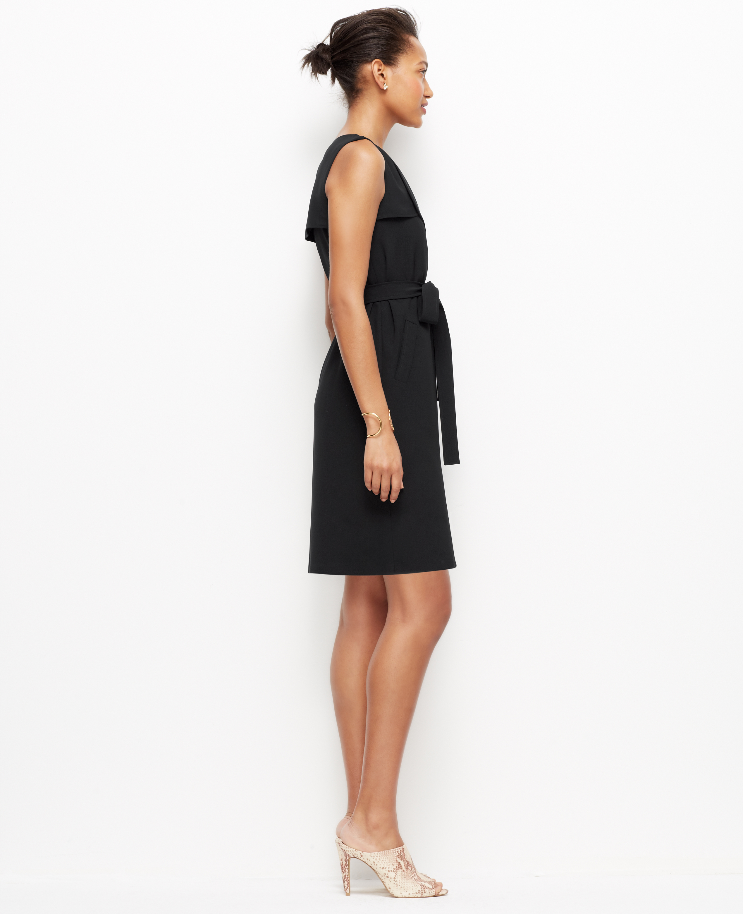Ann taylor Petite Trench Wrap Dress in Black | Lyst