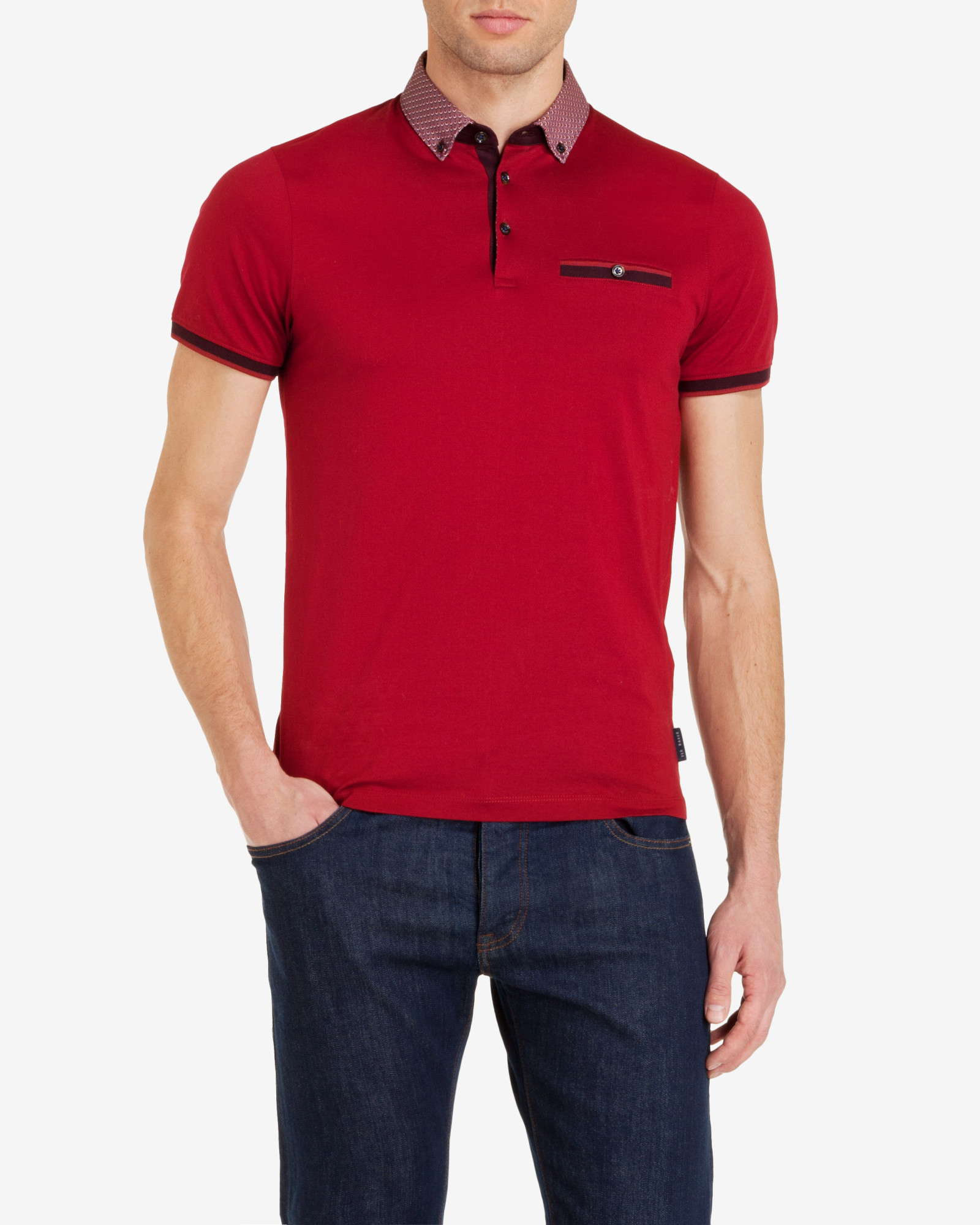 2d66dbb7c229c Lyst - Ted Baker Printed Collar Polo Shirt in Red for Men