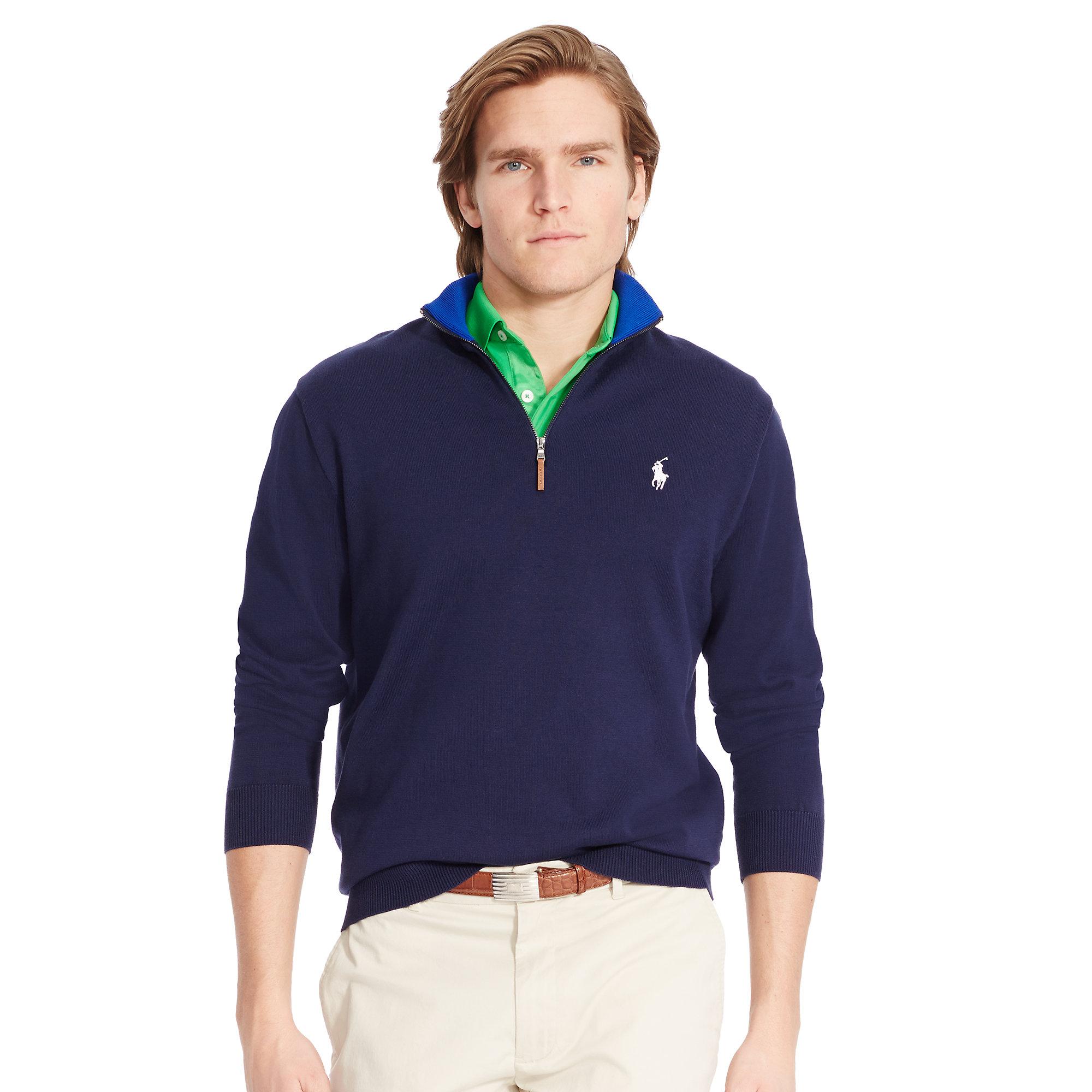 Ralph lauren Pima Cotton Half-Zip Sweater in Blue for Men | Lyst