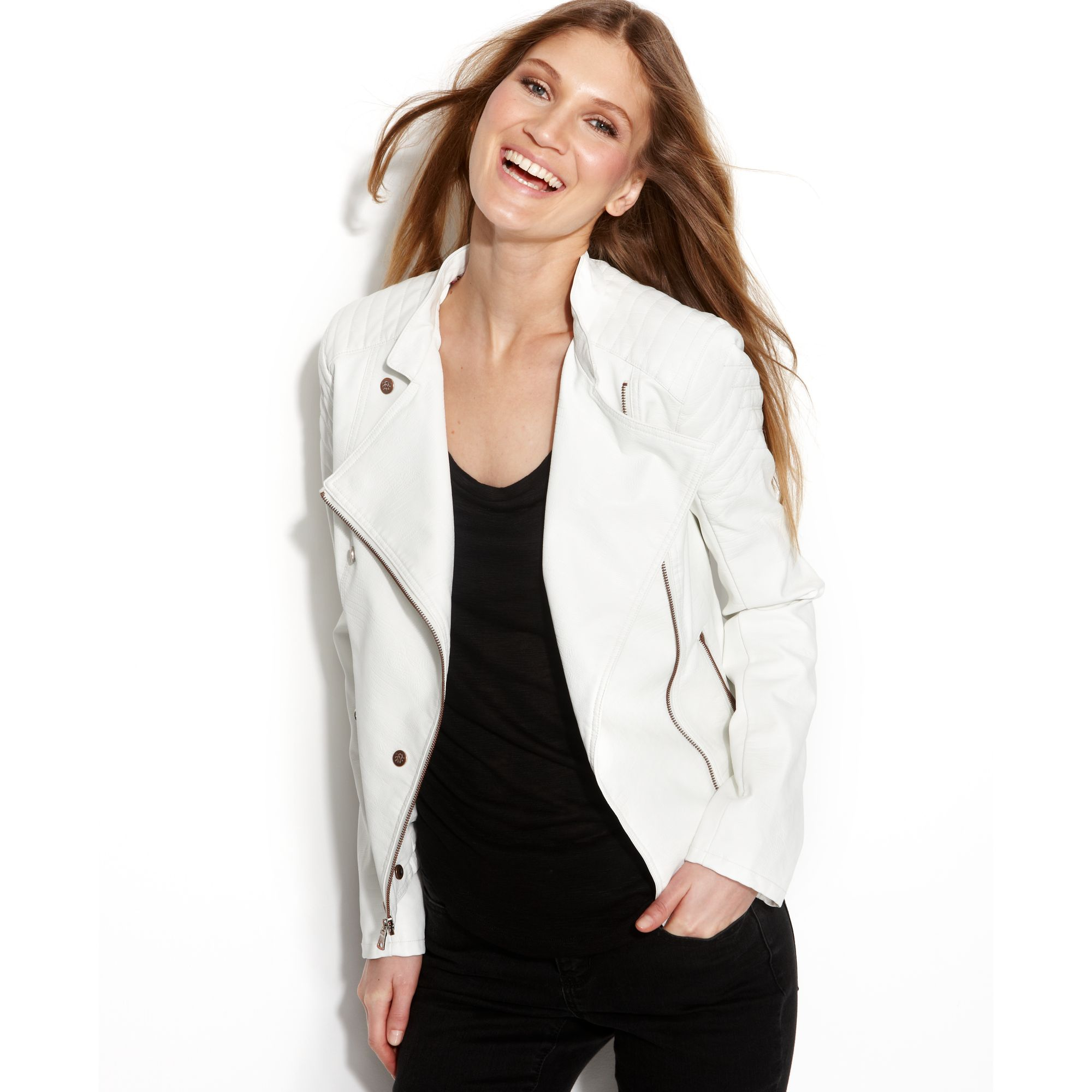 7860c77fbc7 Lyst - Jessica Simpson Leather Motorcycle Jacket in White