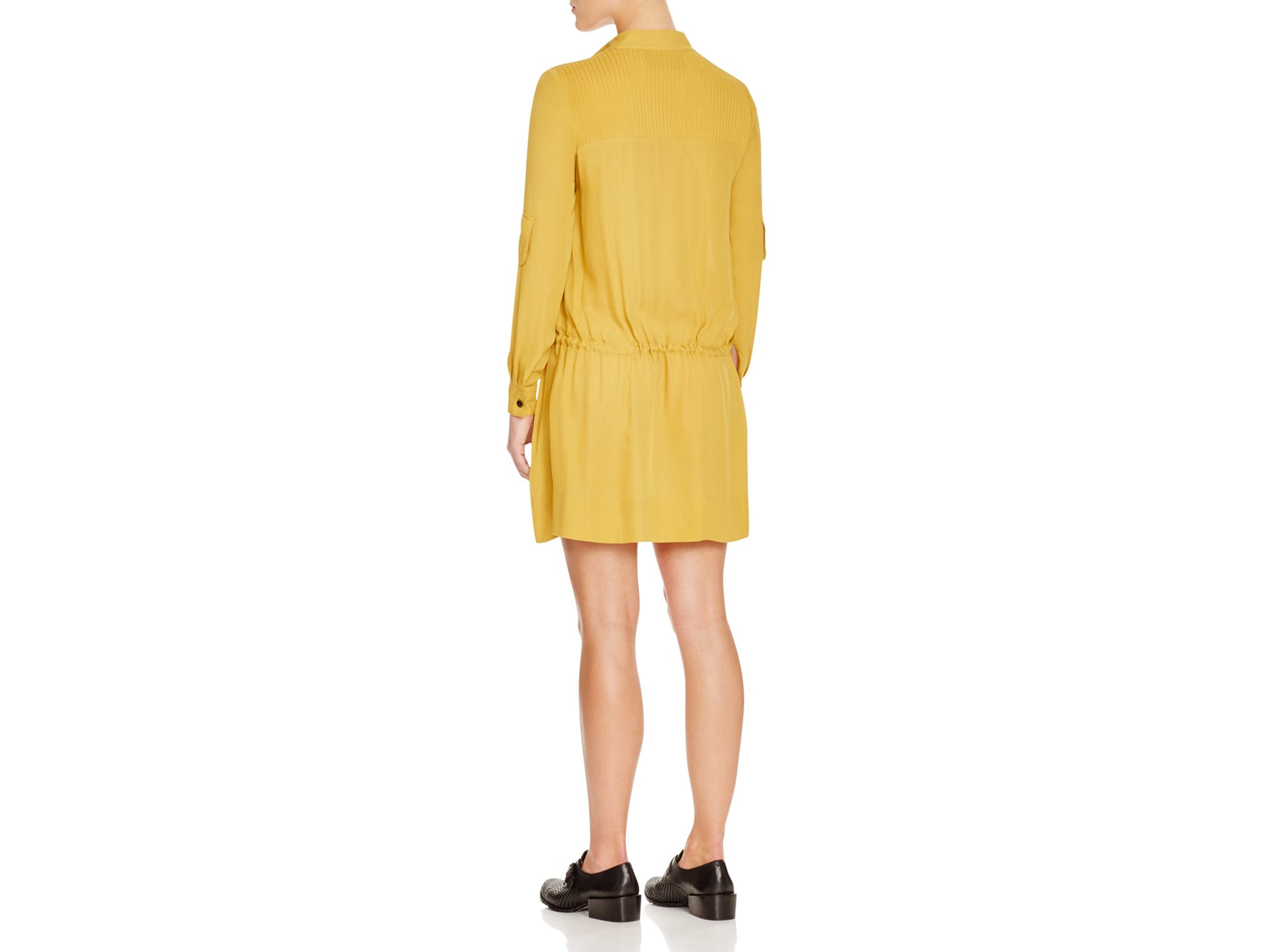 b251e4d2fa45a HANLEY Pintuck Silk Drawstring Shirt Dress in Yellow - Lyst