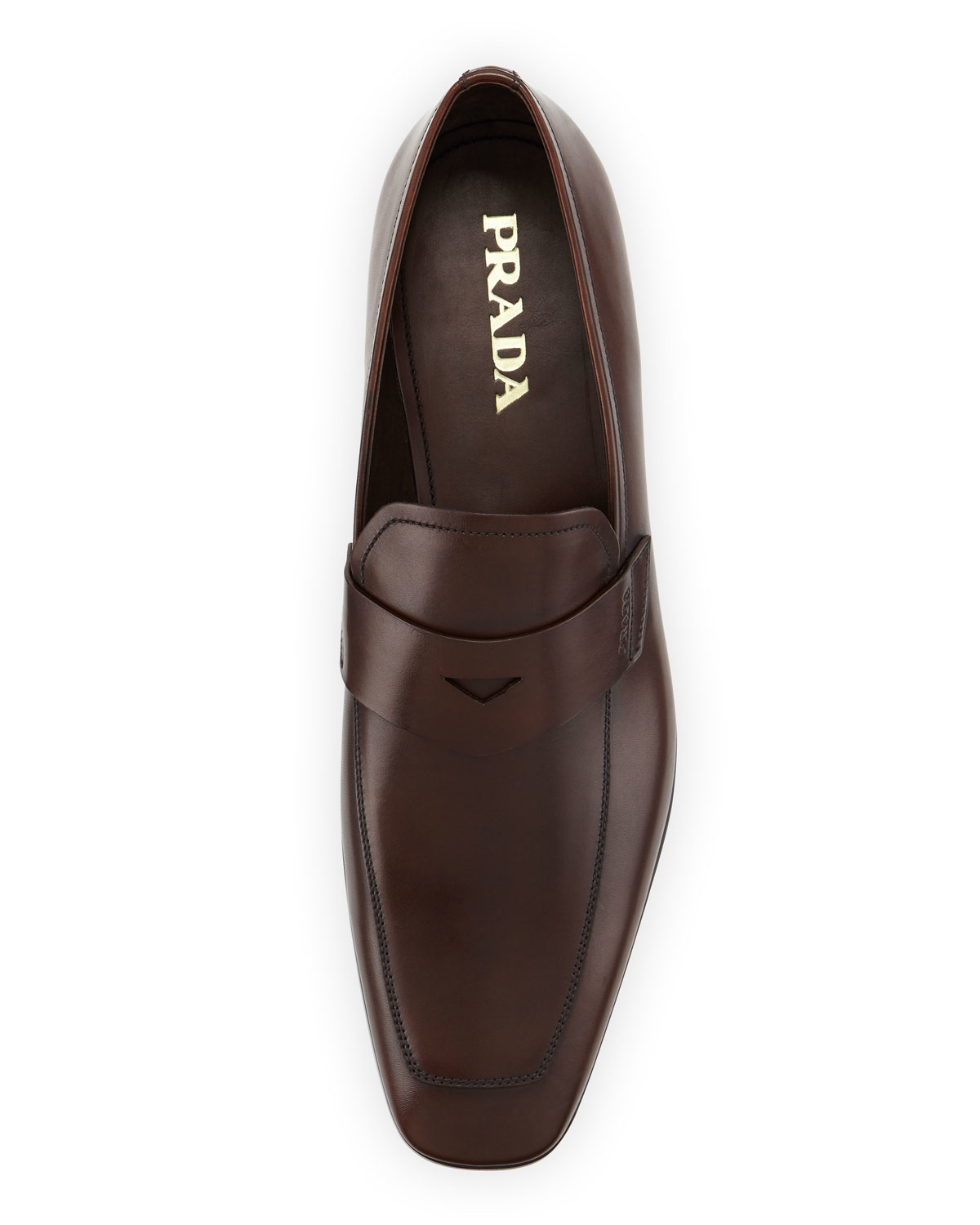 Lyst Prada Square Toe Leather Penny Loafer In Brown For Men