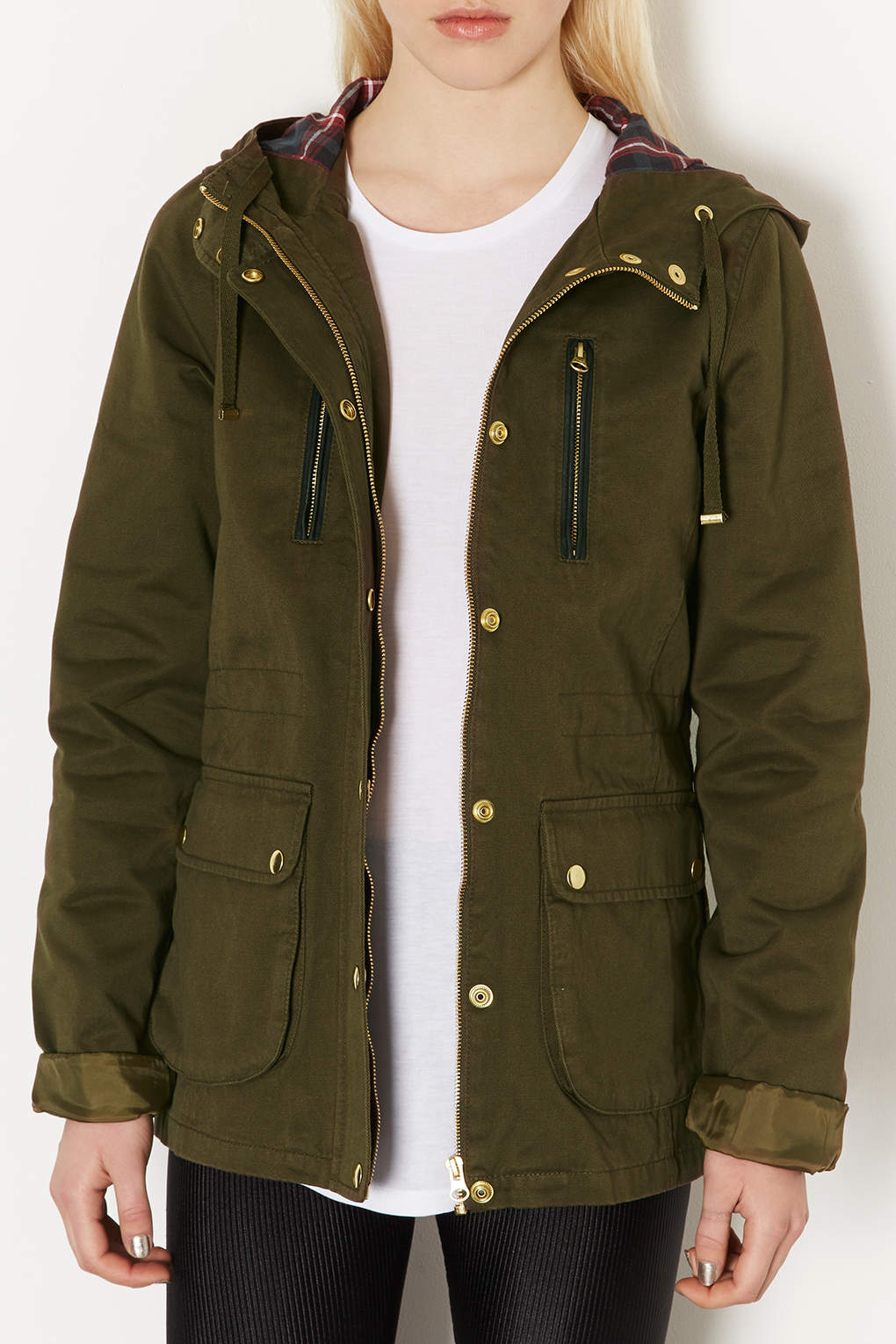 Topshop Tall Hooded Lightweight Jacket in Green   Lyst