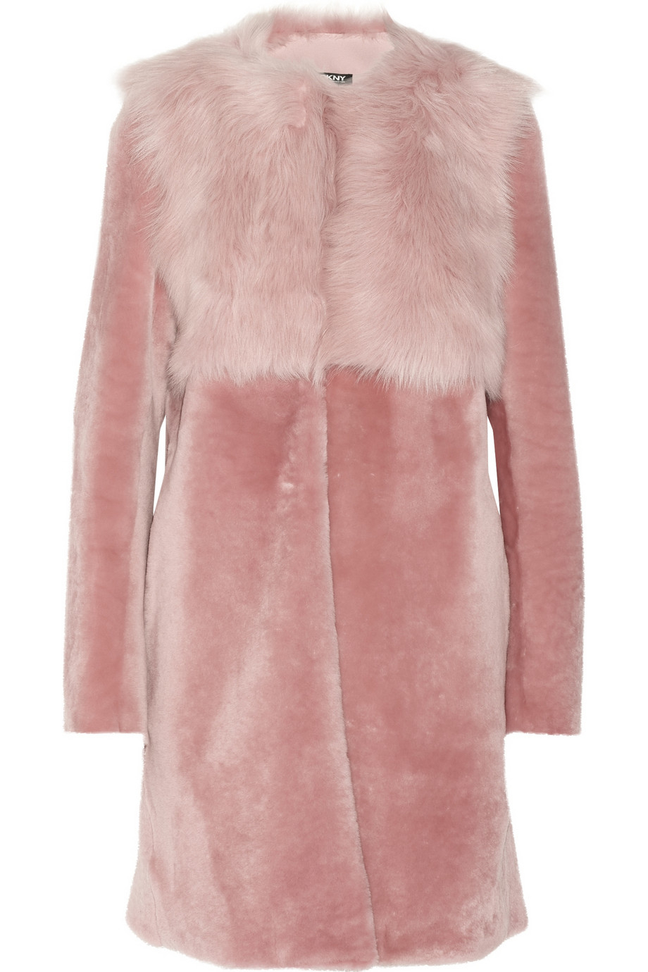 Dkny Shearling Coat in Pink | Lyst