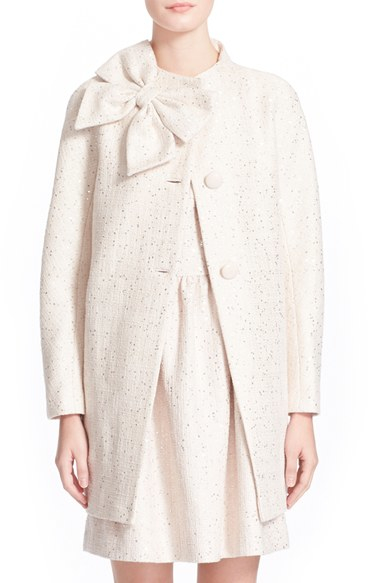 Kate Spade New York Dorothy Sequin Tweed Bow Neck Coat