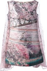 Mary Katrantzou Jq Planet 3d Silver Lake Dress with Chiffon Cape - Lyst