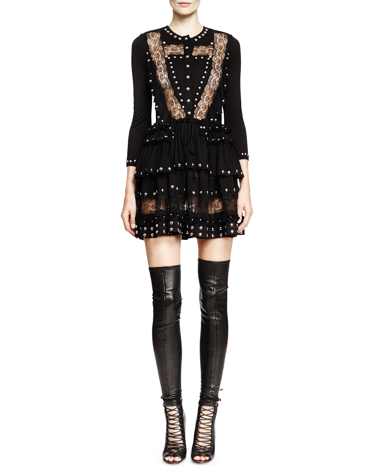 Lyst - Givenchy Studded Lace-inset Mini Dress in Black 9114d30f22