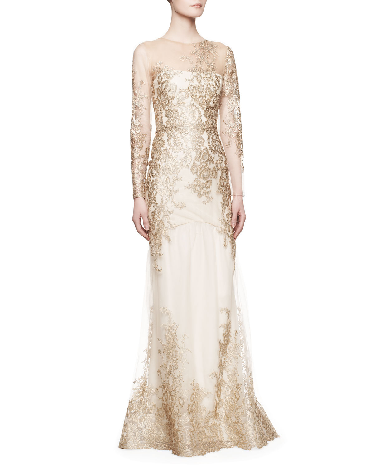 Notte By Marchesa Longsleeve Lace Illusion Mermaid Gown In