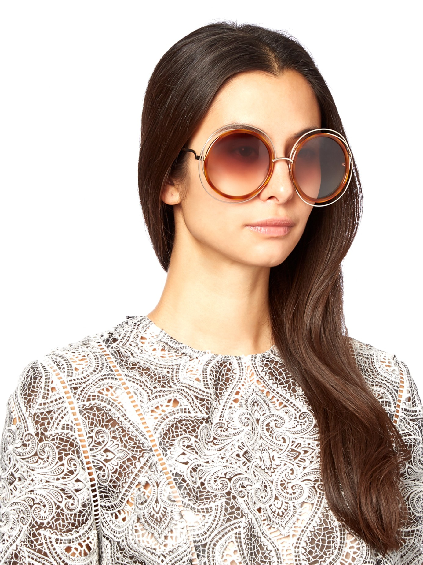 Lyst Chlo 233 Carlina Oversized Sunglasses In Metallic