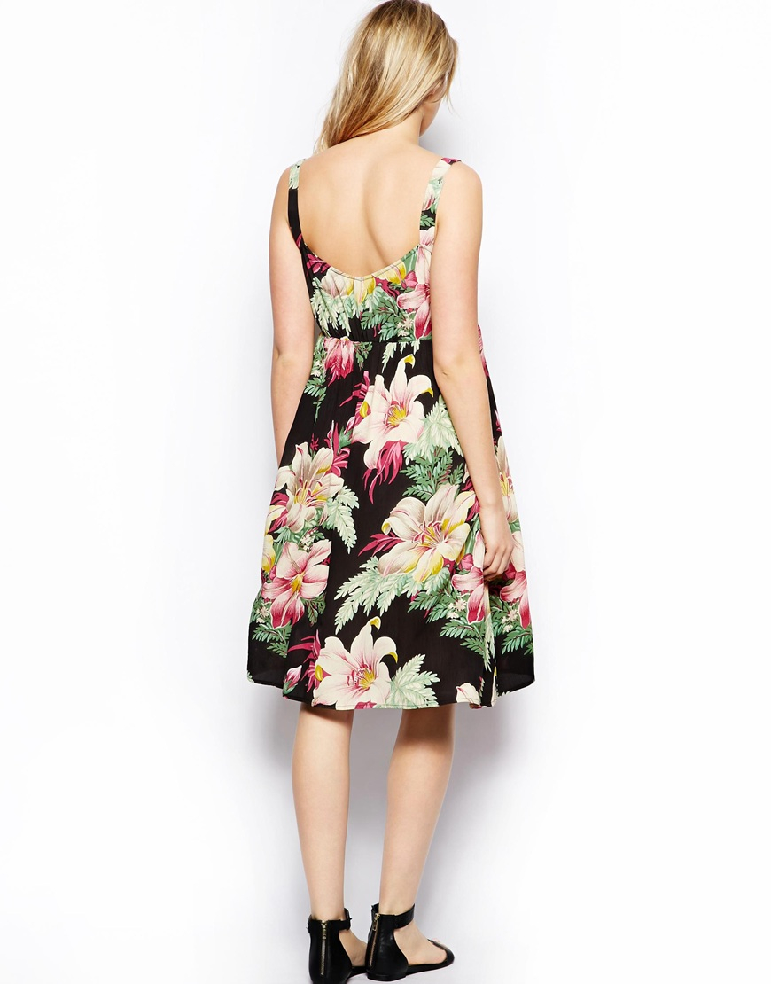 Lyst Asos Exclusive Midi Dress In Hawaiian Floral Print