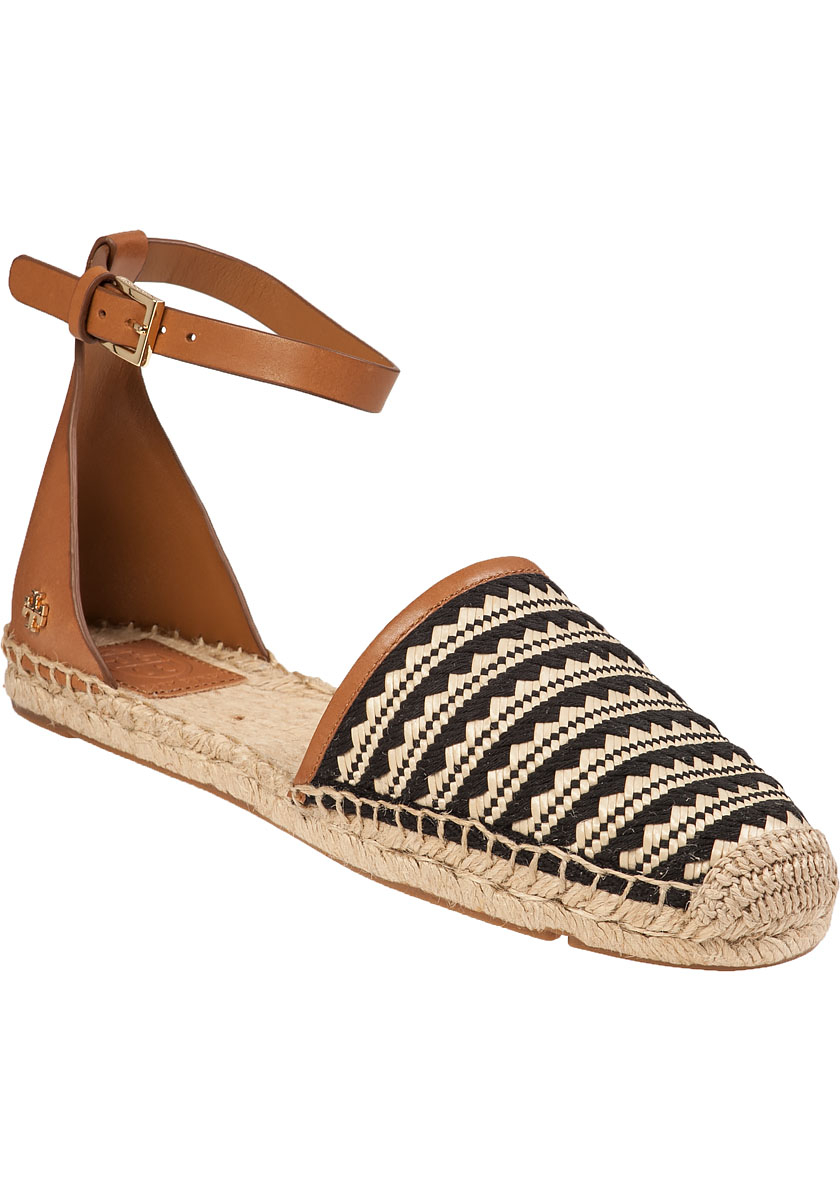cabb281cf Lyst - Tory Burch Mosaic Straw Flat Espadrille Natural Leather in Brown