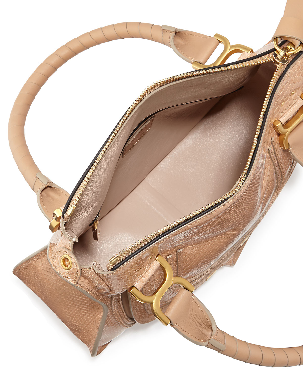 Chlo¨¦ Marcie Python Shoulder Bag in Beige (SAND) | Lyst