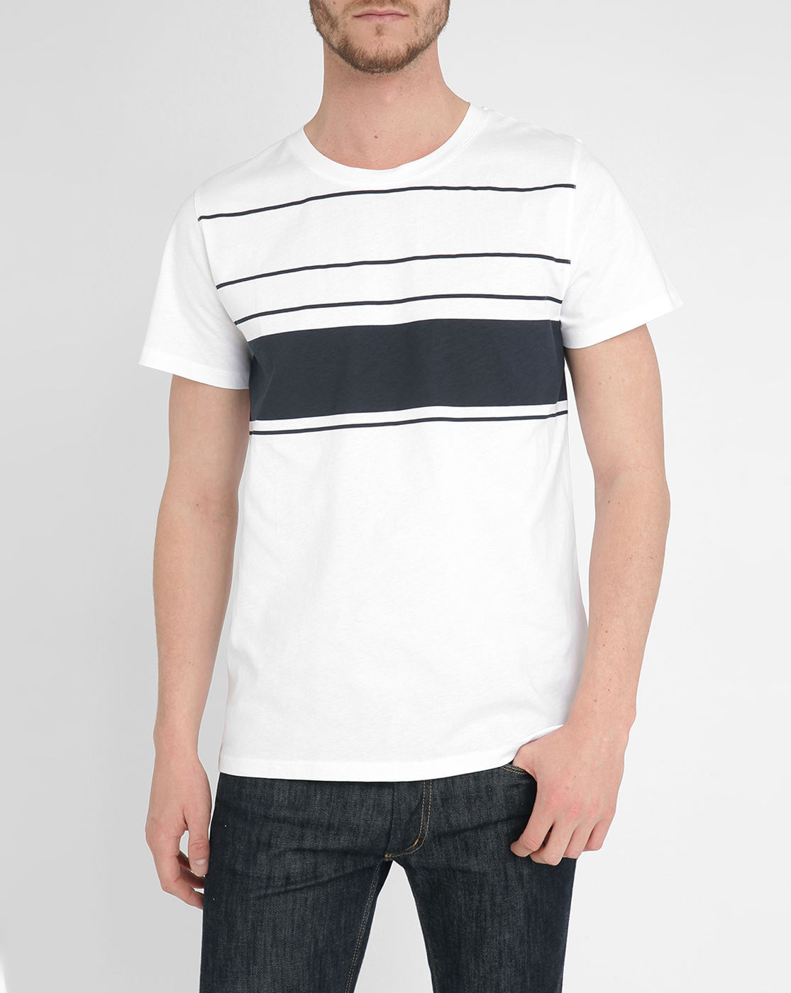 A p c white regate large stripes t shirt in white for men for Apc white t shirt