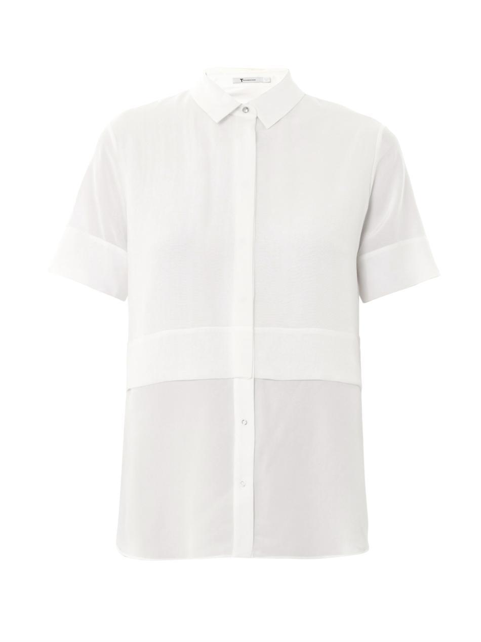 baea6bf6e14b6d Lyst - T By Alexander Wang Layered Silk-Chiffon Blouse in White