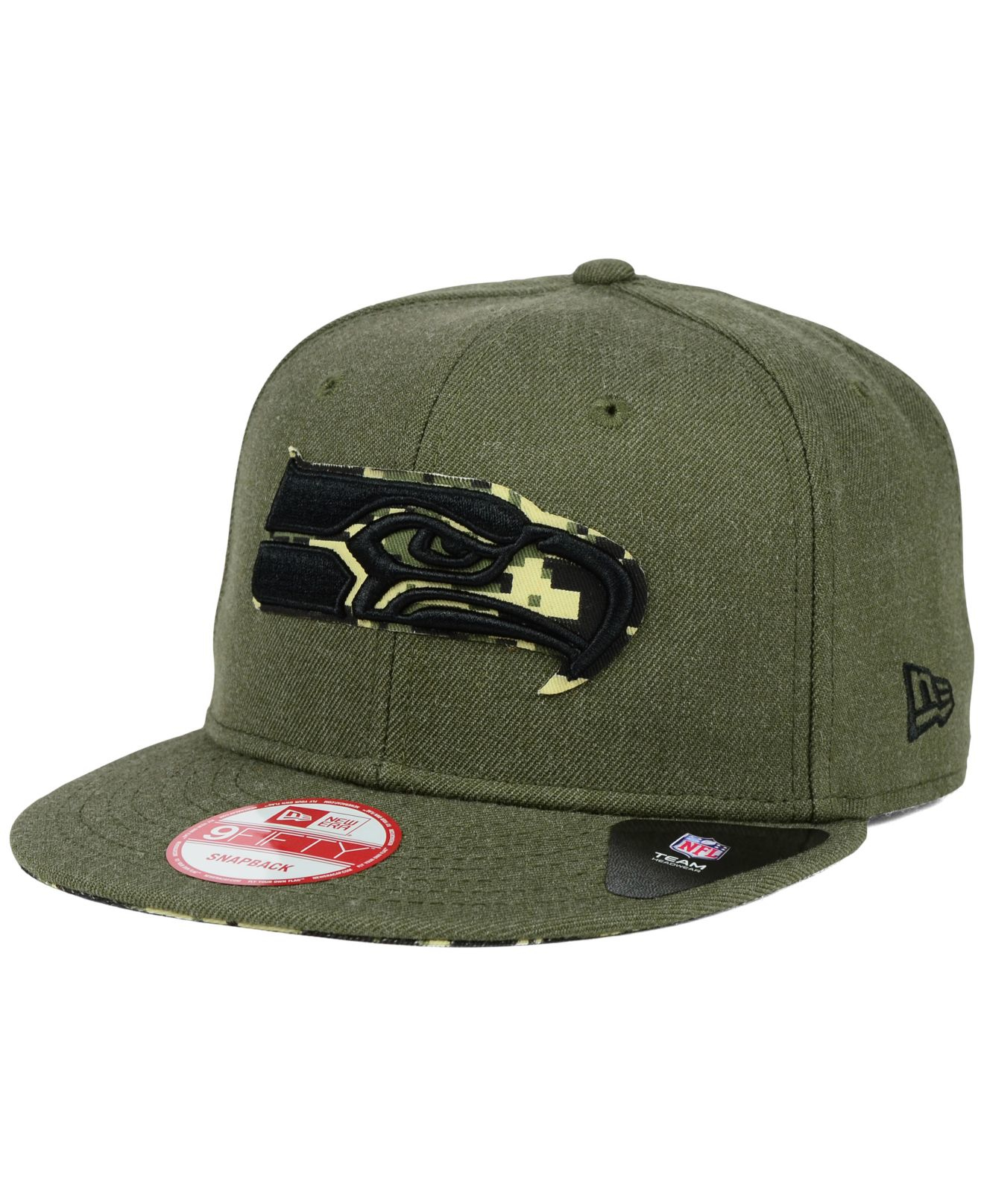 premium selection 45851 06712 KTZ Seattle Seahawks Camo 9fifty Snapback Cap in Green for Men - Lyst