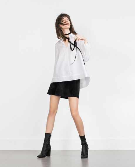 Zara Lace Blouse With Bow Neckline 106
