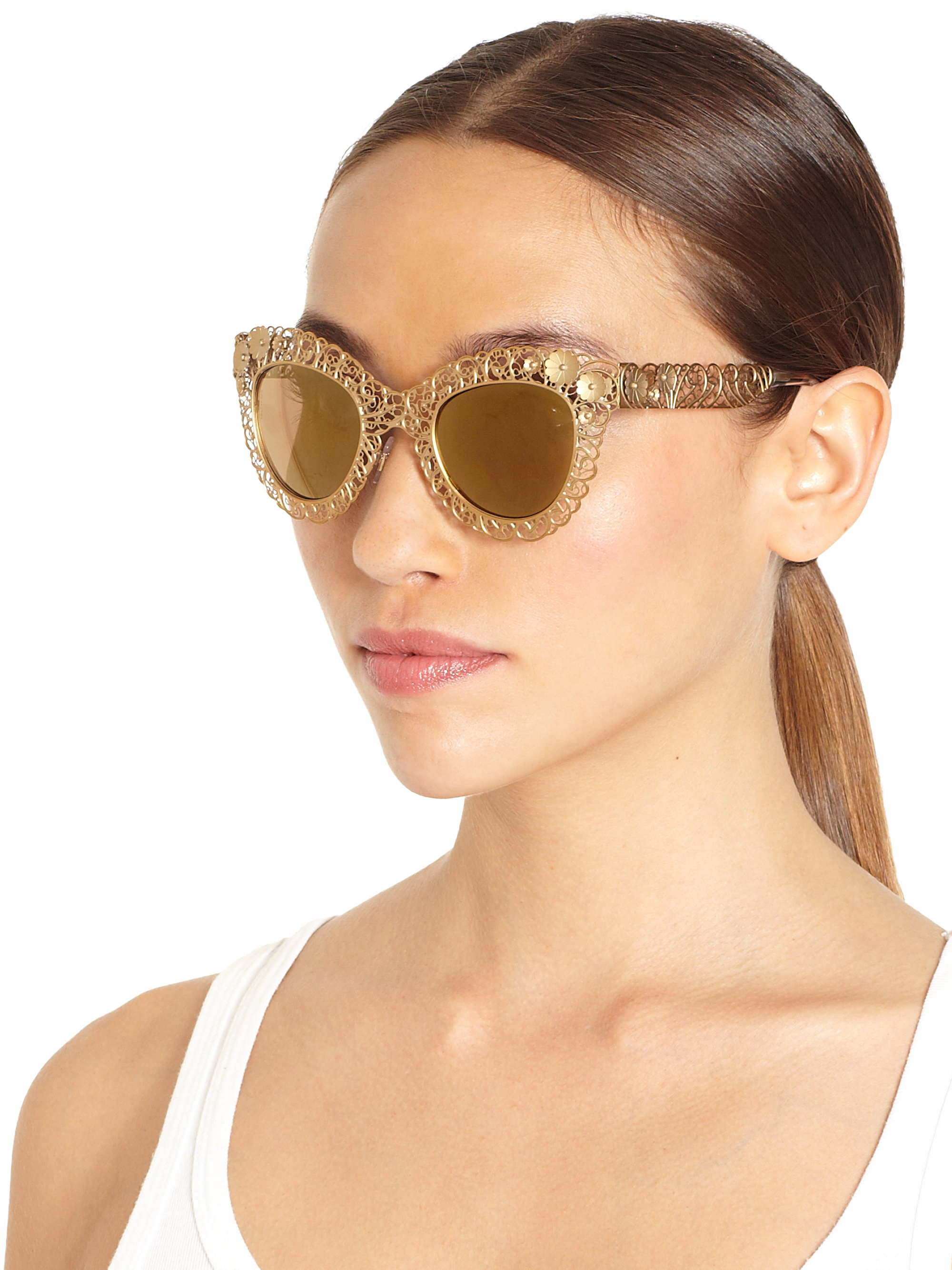Dolce And Gabbana Sunglasses Foldable  dolce gabbana sunglasses in metallic lyst