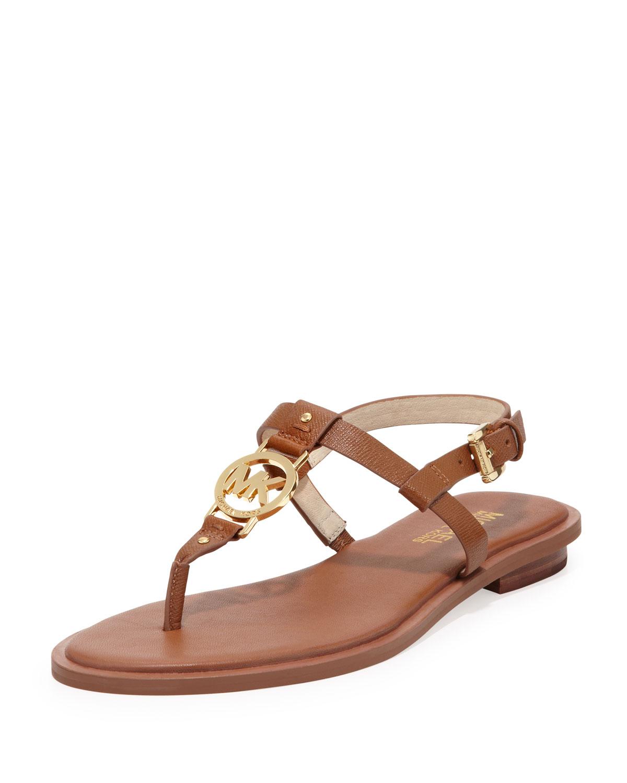 Michael michael kors sondra logo sandal in brown luggage lyst