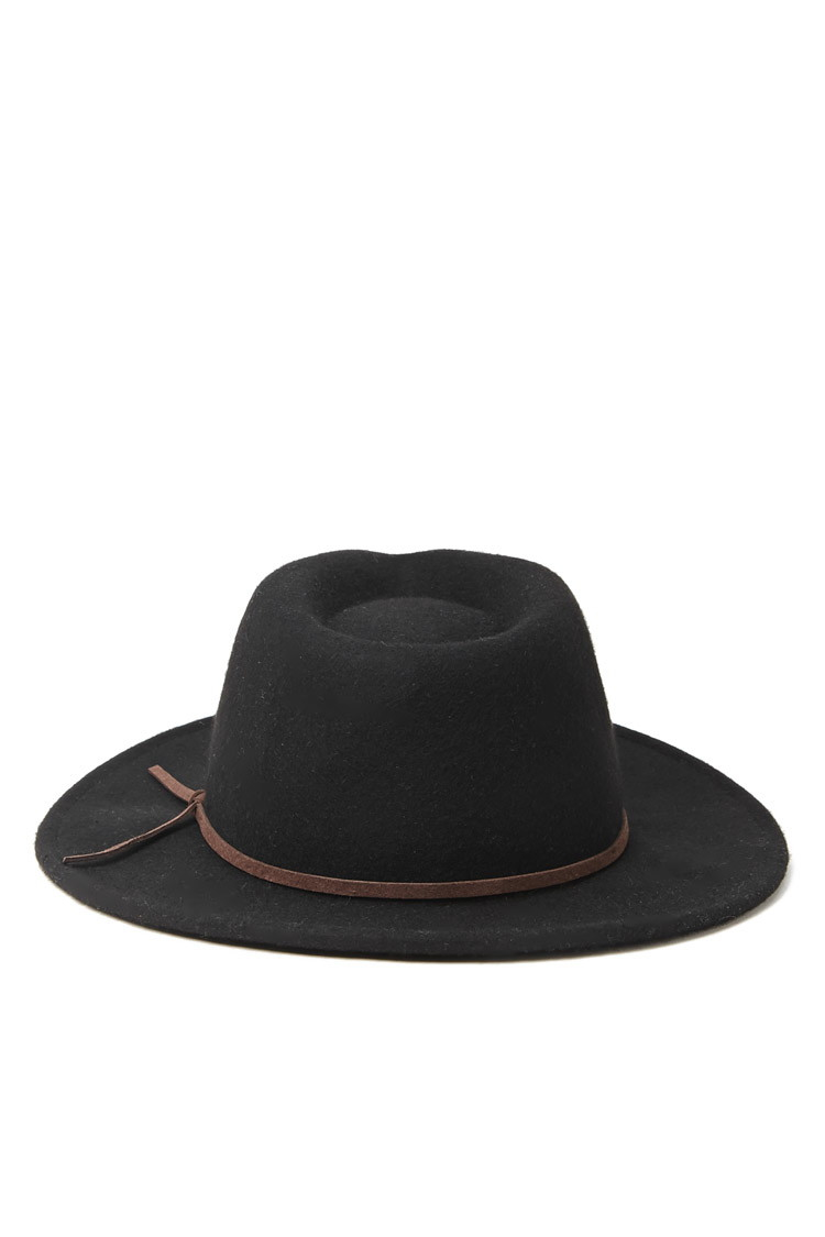 Lyst - Forever 21 Men Wide-brim Wool Fedora in Black for Men a18def1645b