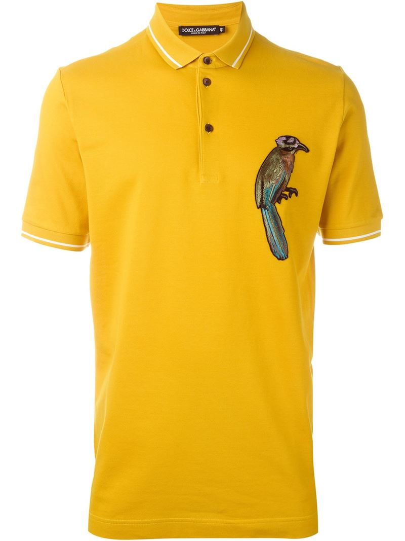 Dolce Gabbana Embroidered Bird Polo Shirt In Yellow For Men Lyst
