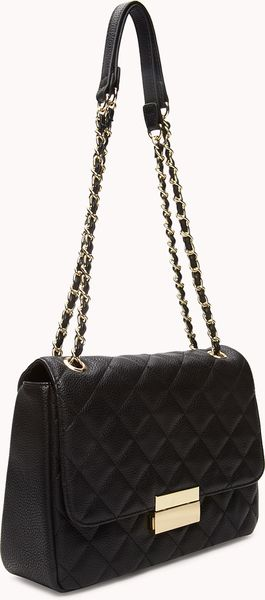 Forever 21 Signature Quilted Shoulder Bag in Black