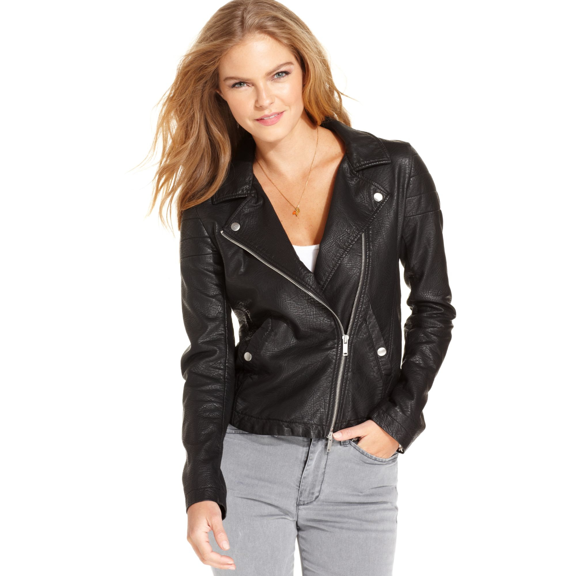 Black Faux Leather Moto Jacket Women S Cairoamani Com