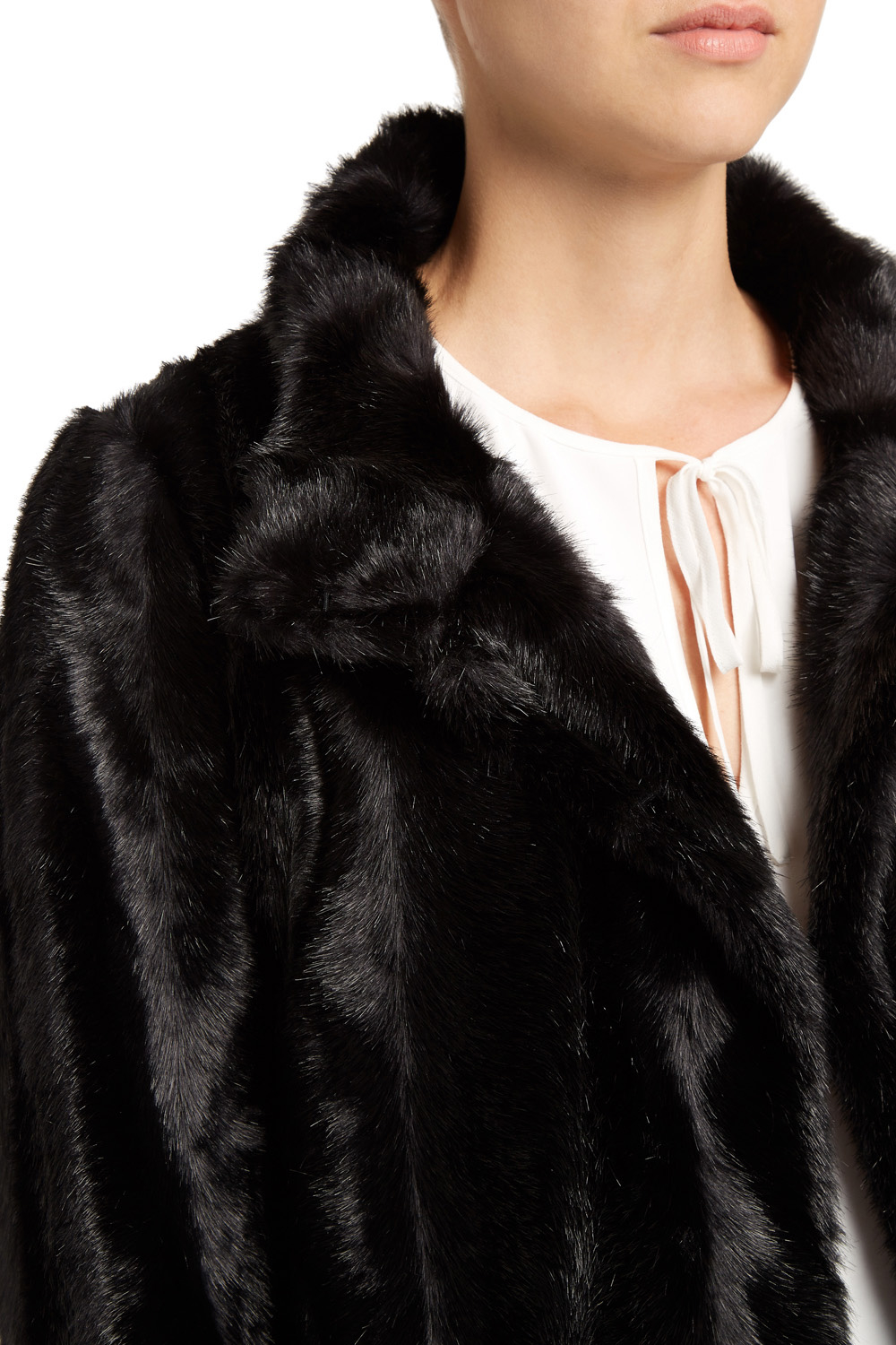 Coast Zurich Faux Fur Coat in Black | Lyst