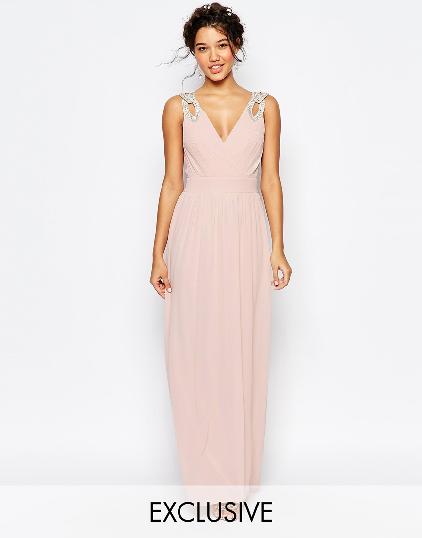 tfnc london wedding wrap embellished maxi dress in pink lyst