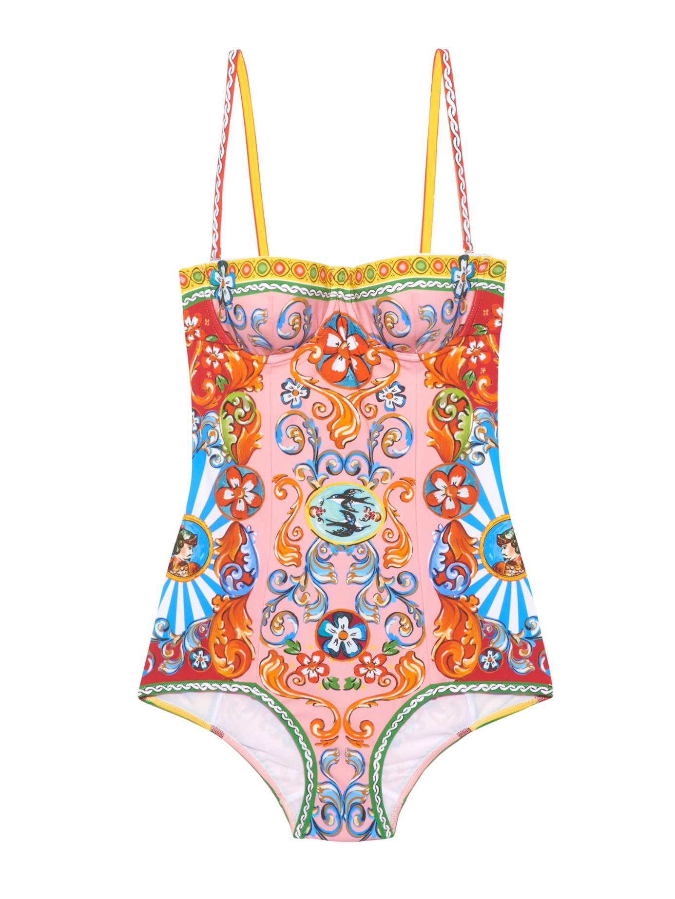 1f3482b7a7 Lyst - Dolce   Gabbana Carretto-print Balconette Swimsuit