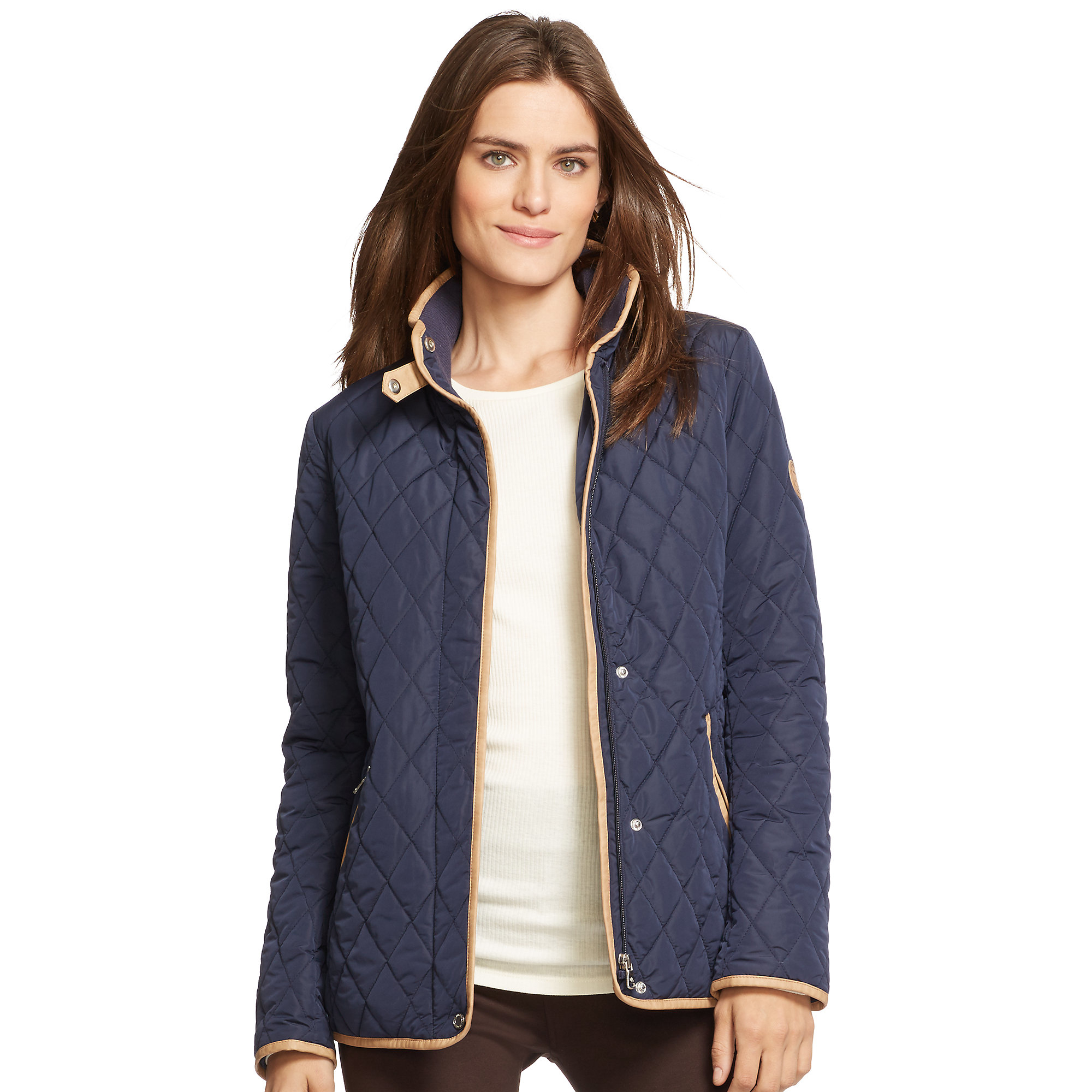 Lyst Pink Pony Quilted Mockneck Jacket In Blue