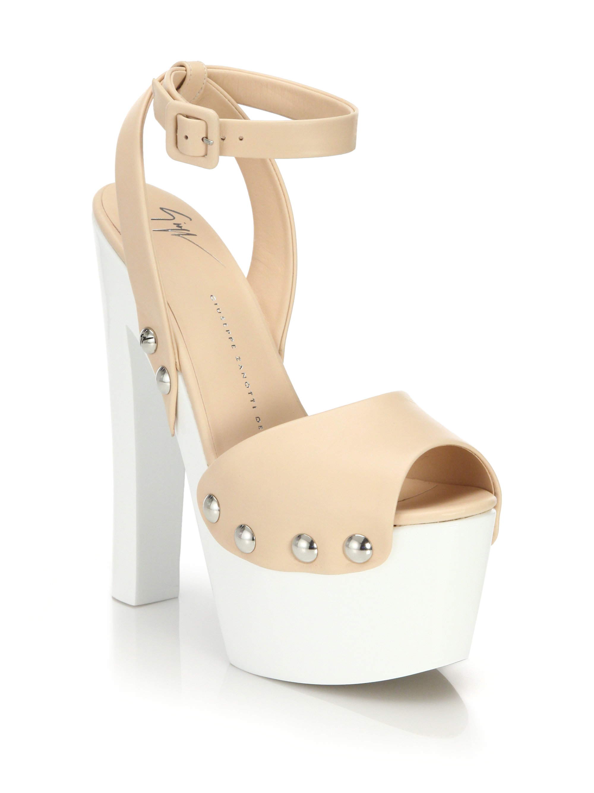 Giuseppe Zanotti Leather Clog Platform Sandals In Natural