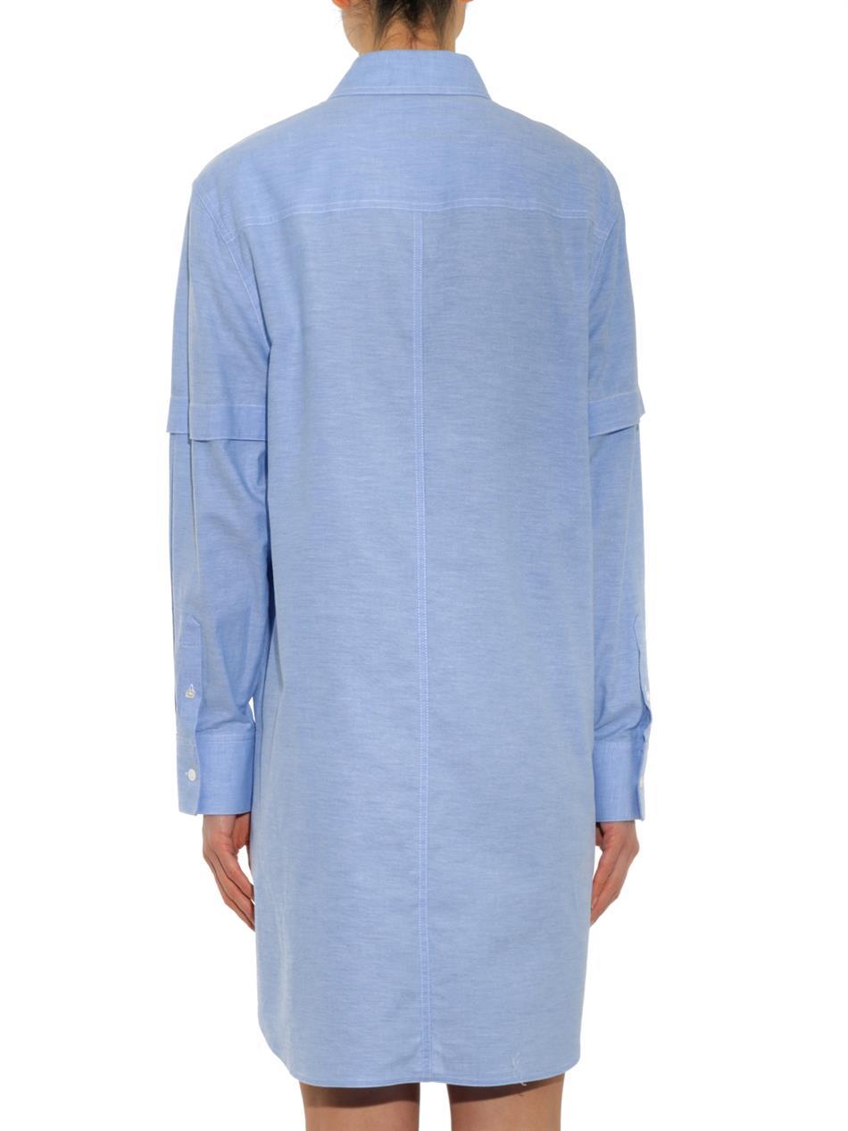 Lyst Alexander Wang Oxford Cotton Shirt Dress In Blue