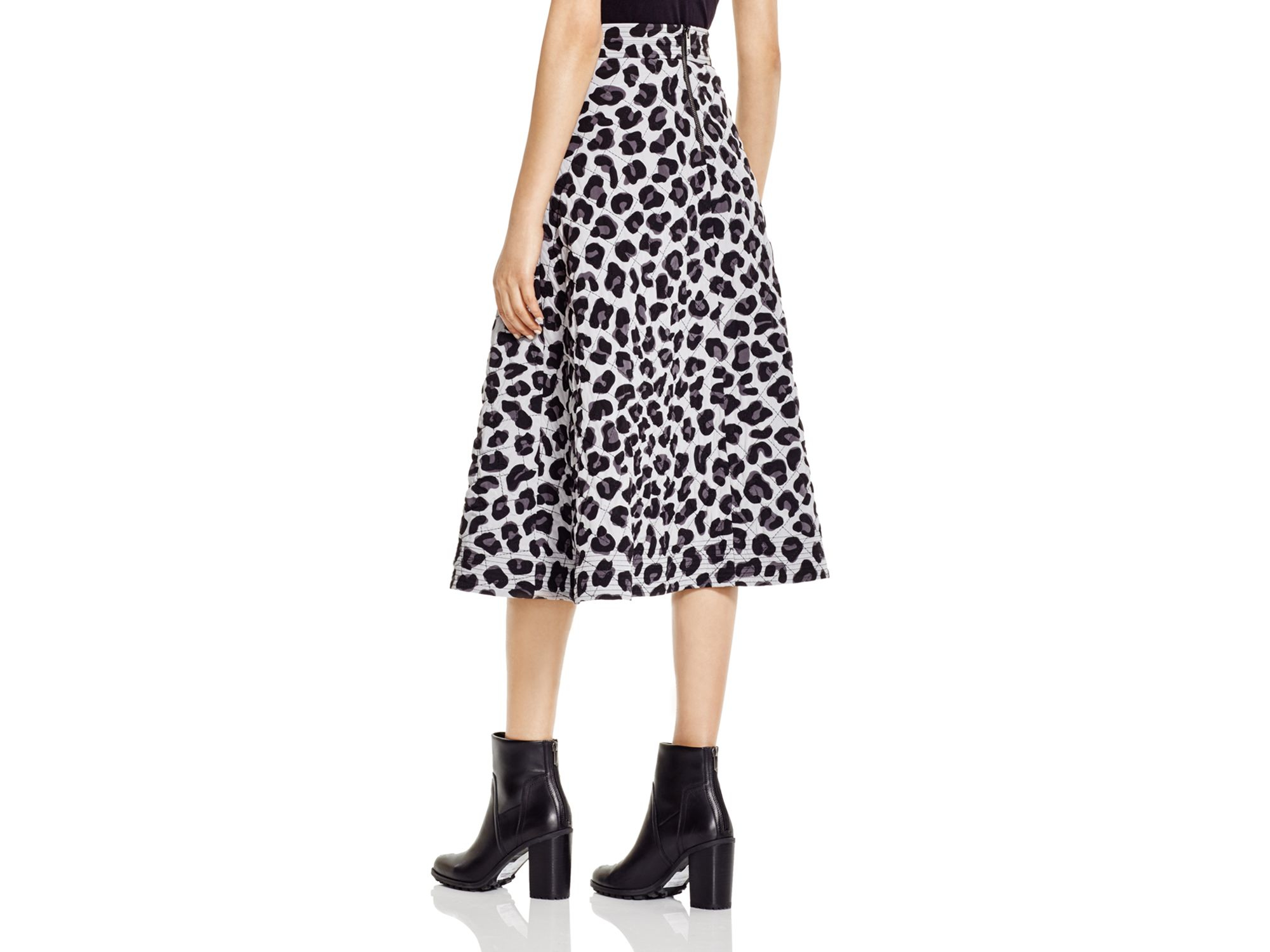dkny quilted leopard print midi skirt bloomingdale s