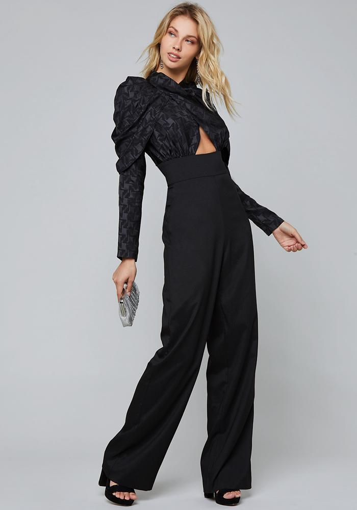 80623fee6f9d Lyst - Bebe Bolton Check Jumpsuit in Black