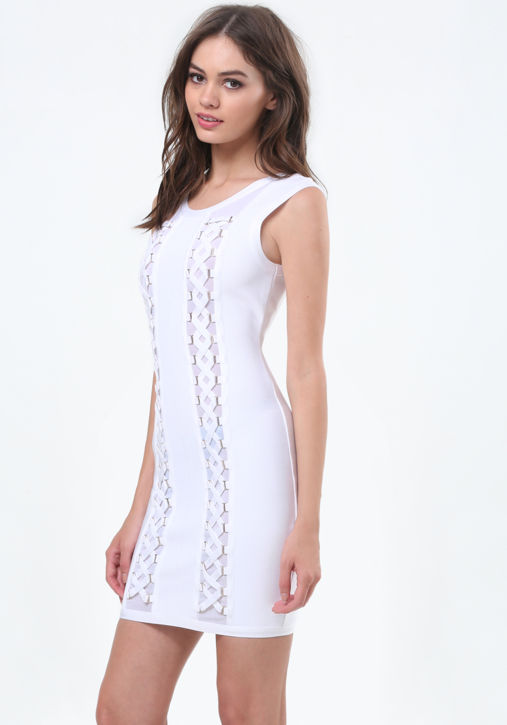 Lyst Bebe Lace Up Trim Sweater Dress In White