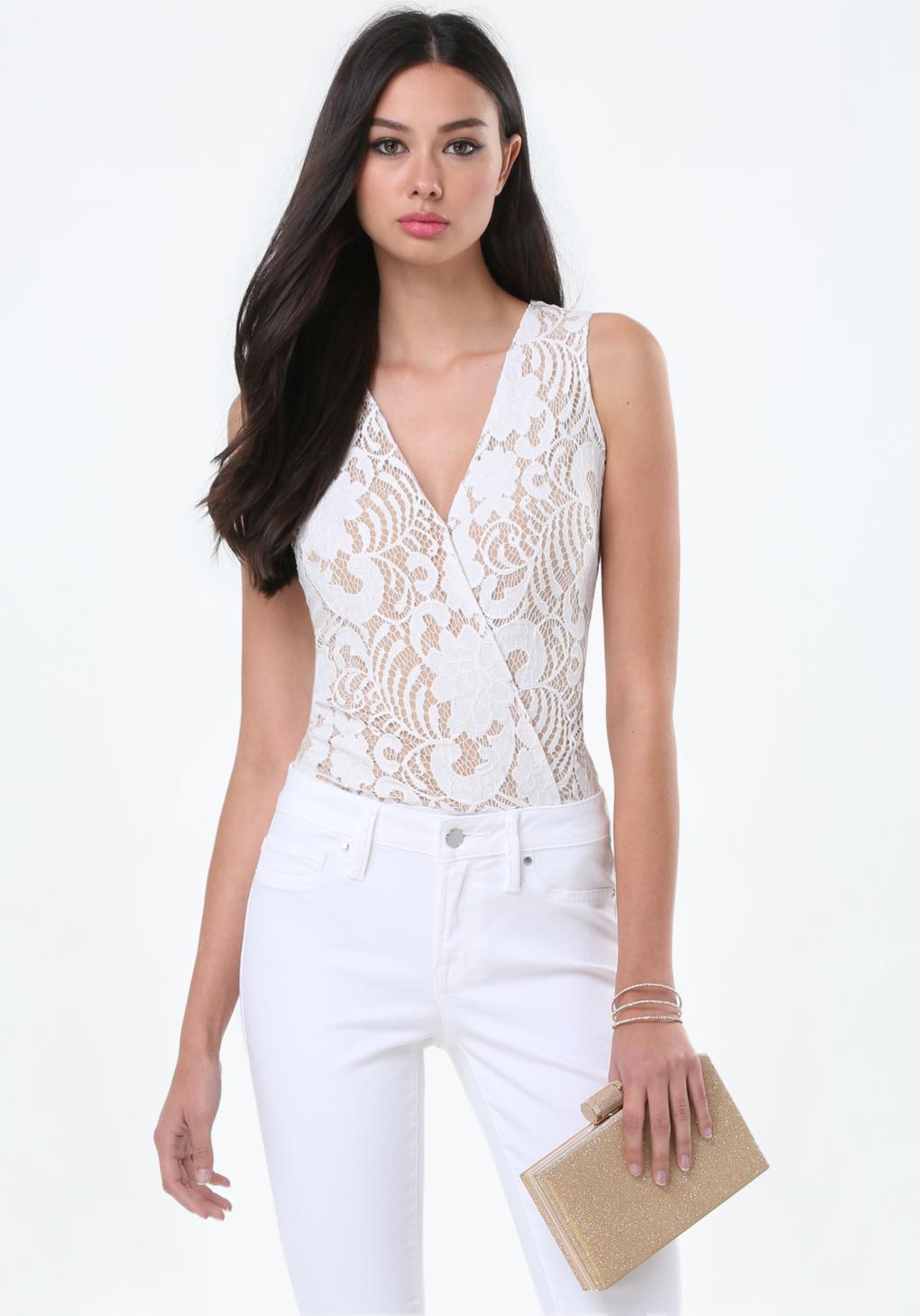 Bebe Layla Lace Bodysuit in White | Lyst
