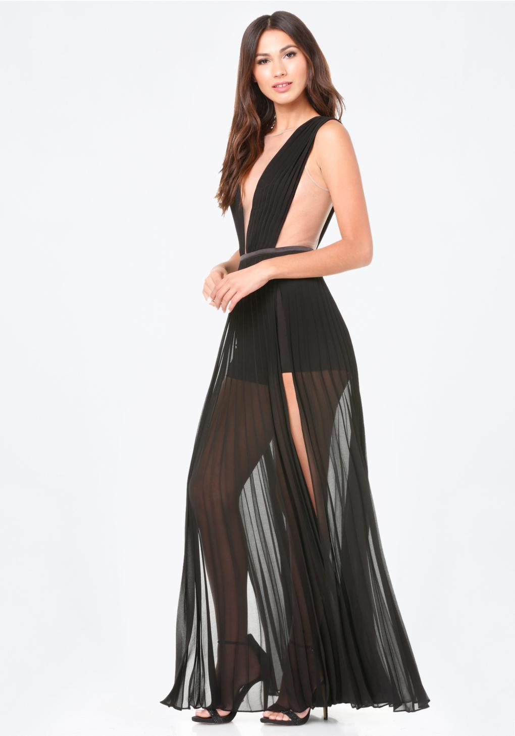 Bebe Solid Double Slit Gown In Black Lyst
