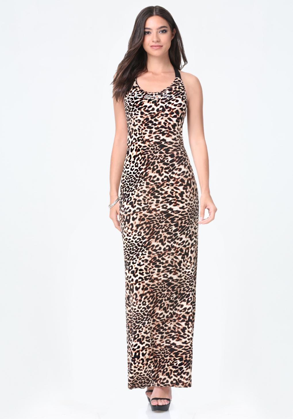 Lyst Bebe Animal Print Maxi Dress