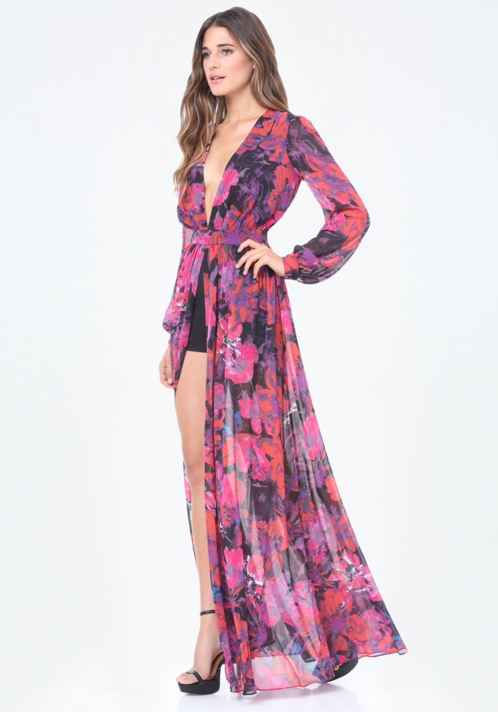 52e8d66eefb7 Lyst - Bebe Print Slit Shorts Gown in Pink
