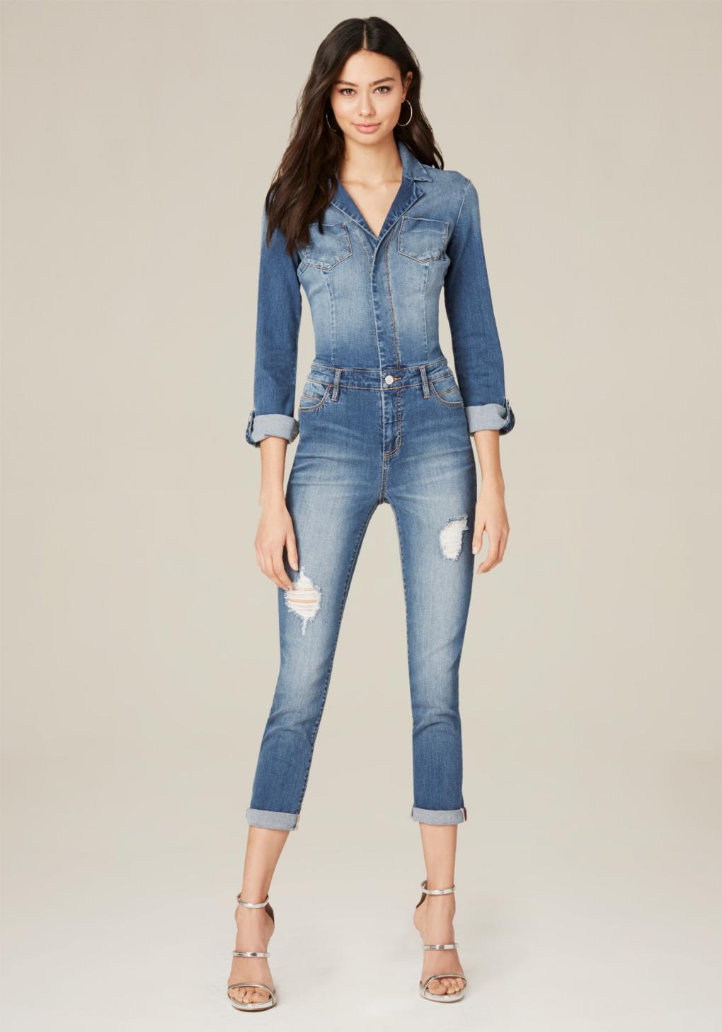 7cb6b112d82f Bebe Denim Pocket Jumpsuit In Blue - Lyst
