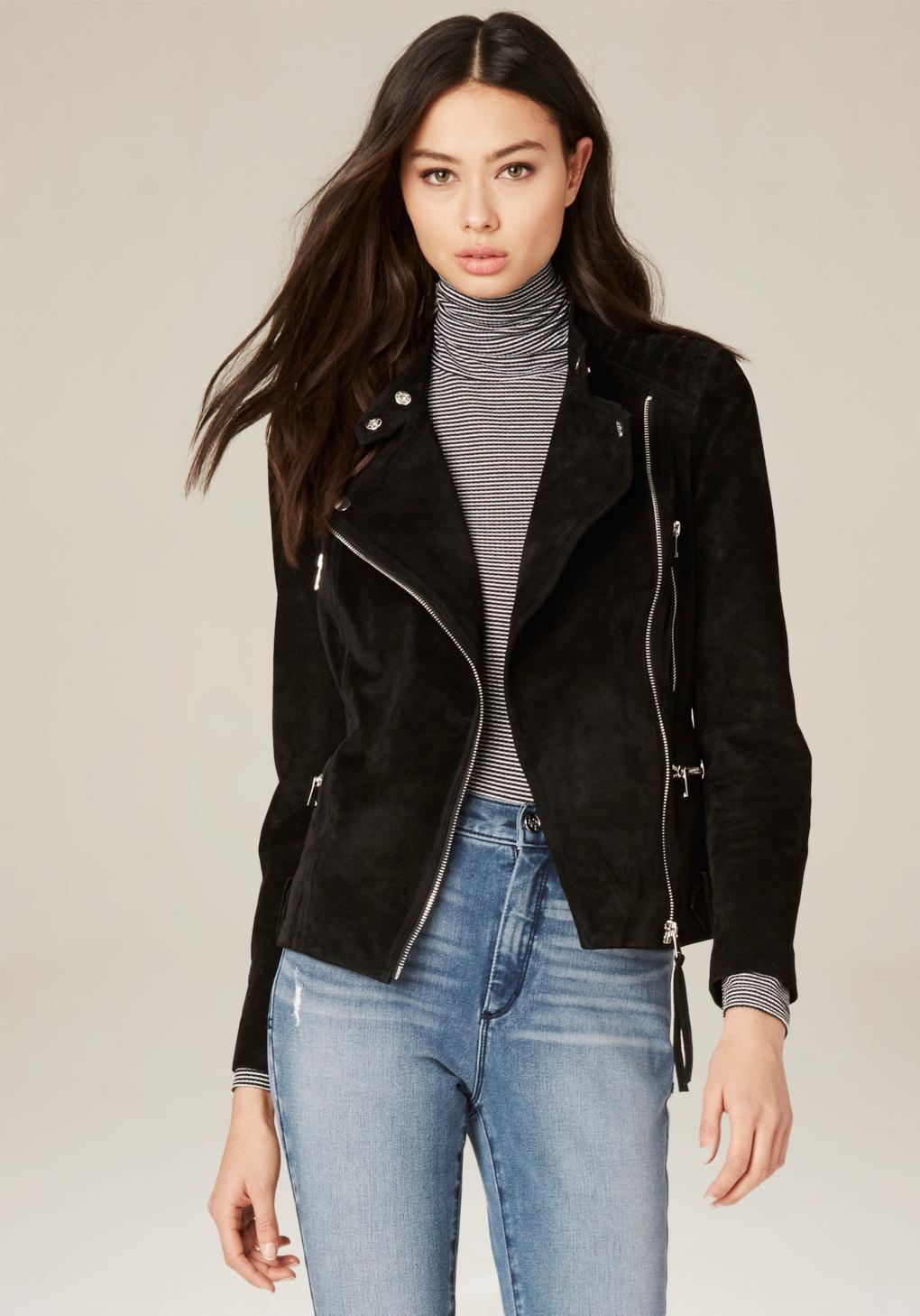 Bebe Quilted Suede Moto Jacket In Black Lyst