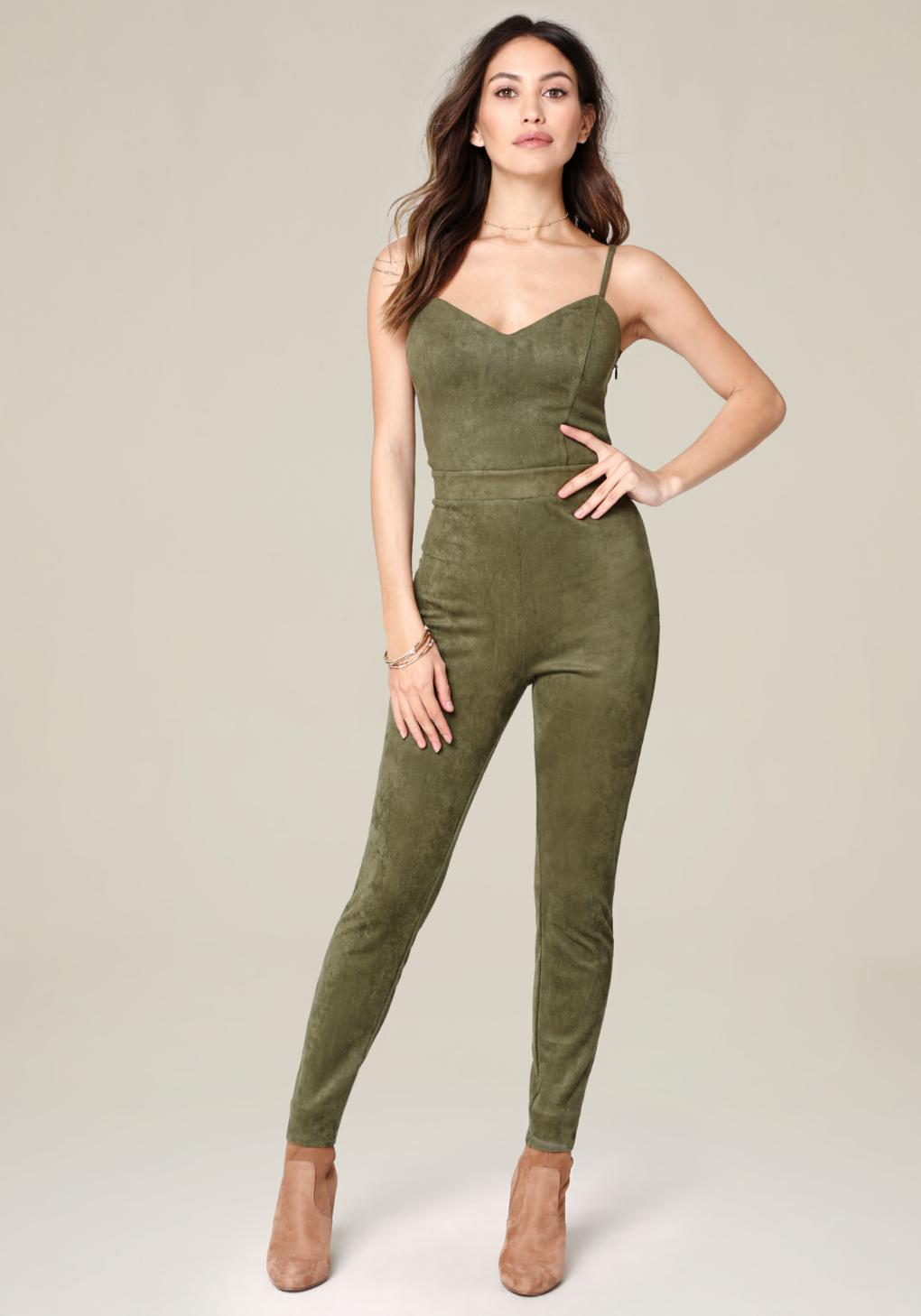 2dcf95dc5f46 Lyst - Bebe Camryn Strappy Jumpsuit in Green