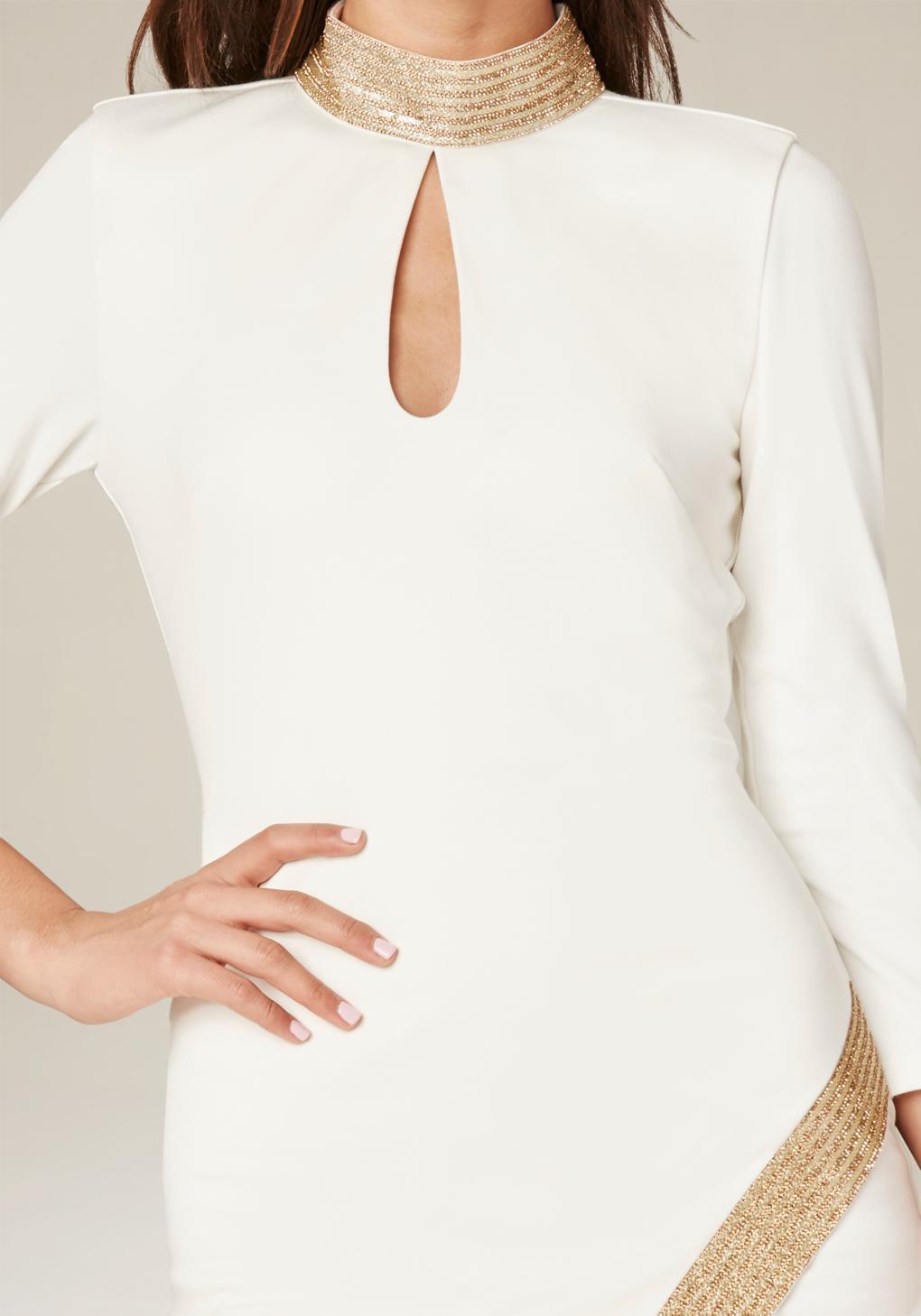 Lyst Bebe Shimmer Trim Dress In White