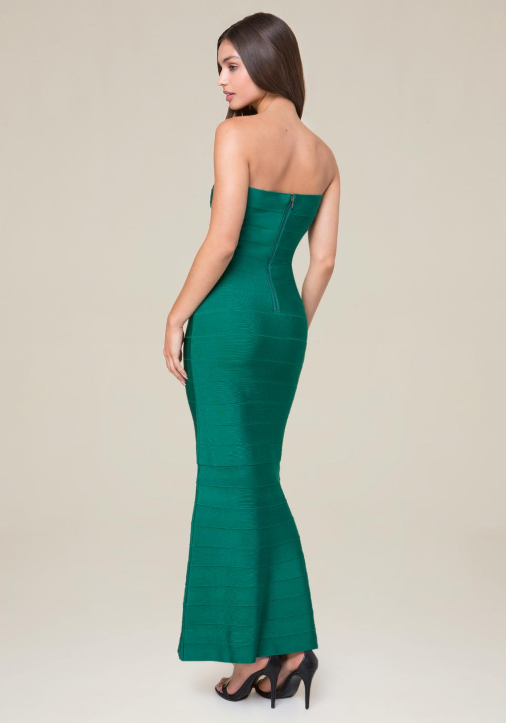 Lyst - Bebe Strapless Bandage Gown in Green