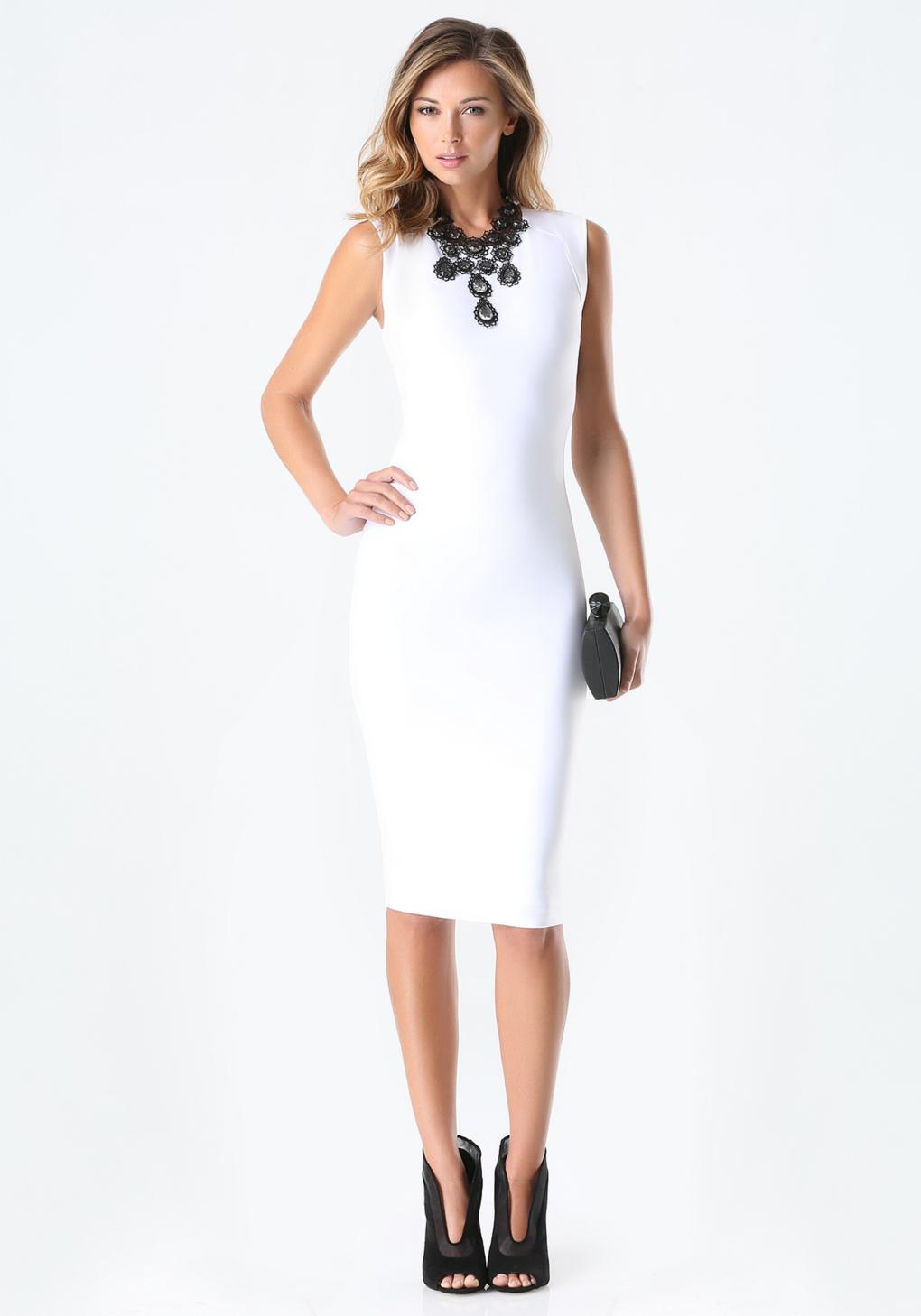 Lyst - Bebe Double Vneck Bandage Midi Dress in White