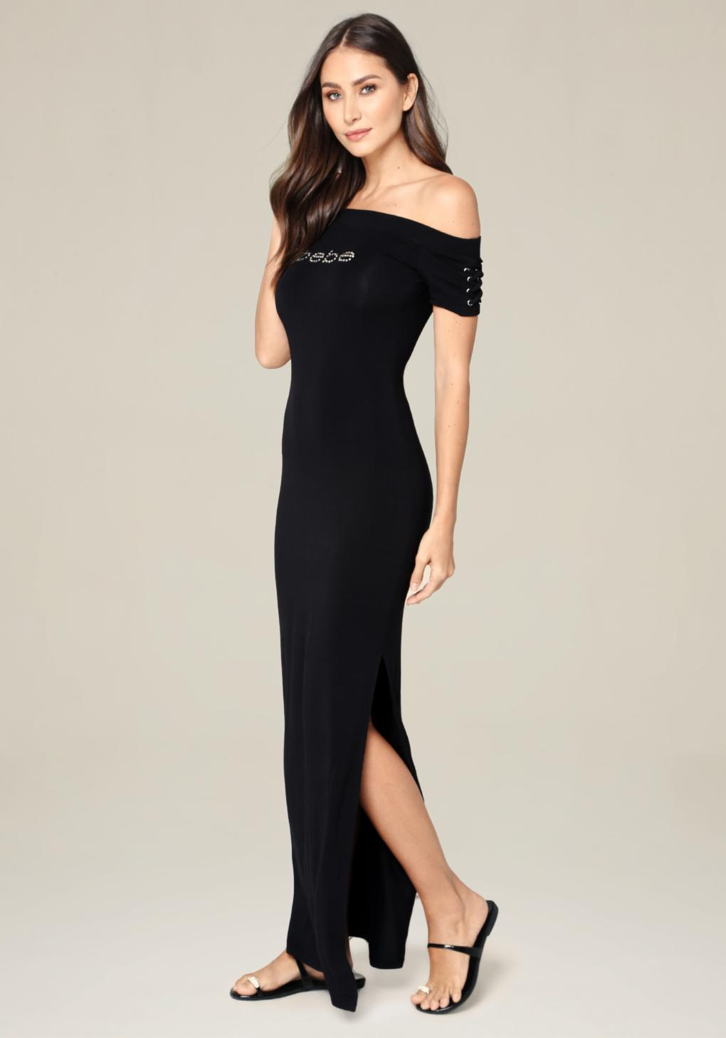 a43a88a9629 Bebe Off Shoulder Maxi Dress in Black - Lyst