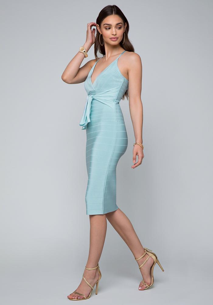 34350008e8b Bebe Minerva Tie Bandage Dress in Blue - Lyst