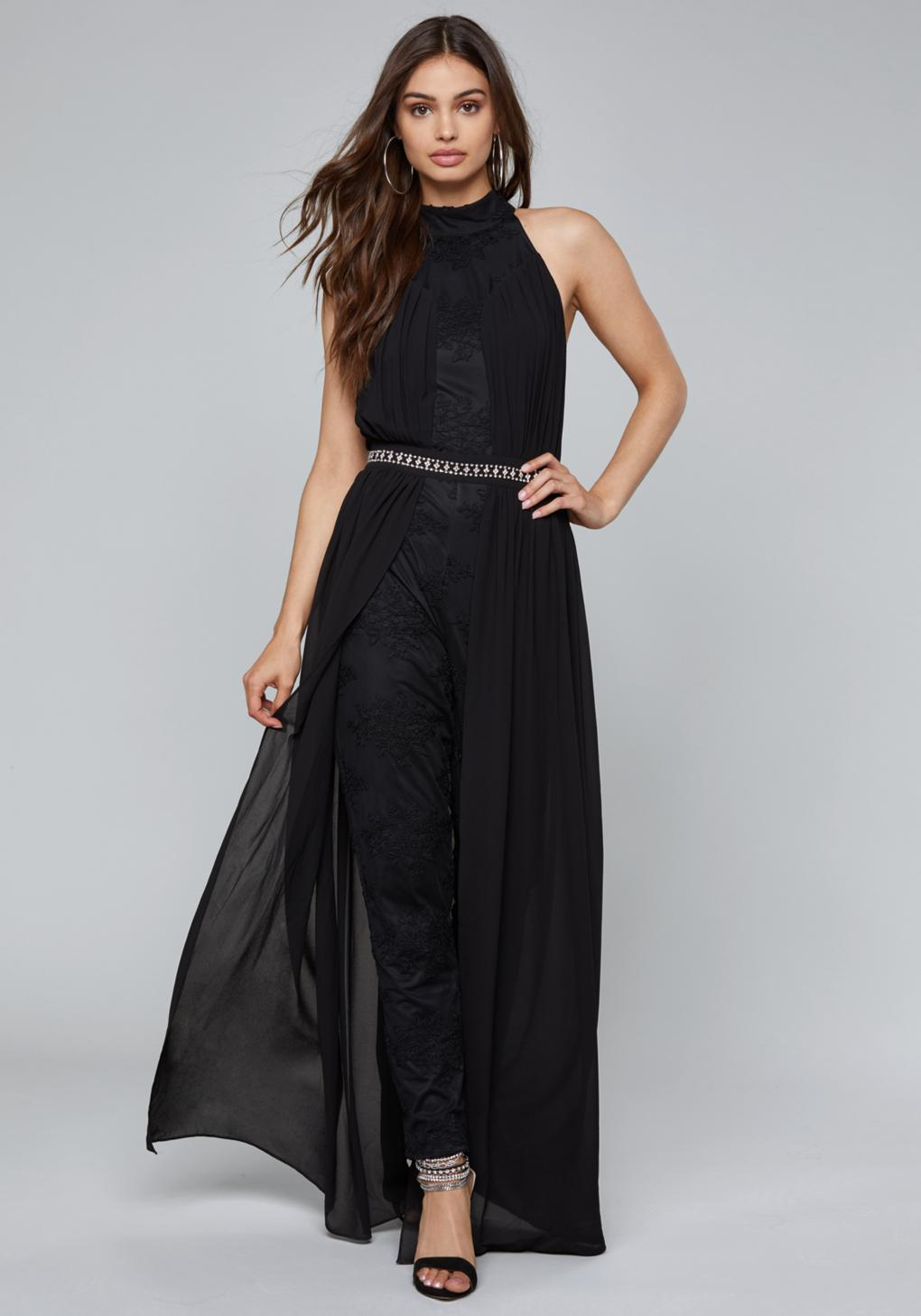 hot-selling authentic 60% cheap many fashionable Bebe Synthetic Skirt Overlay Jumpsuit in Black - Lyst