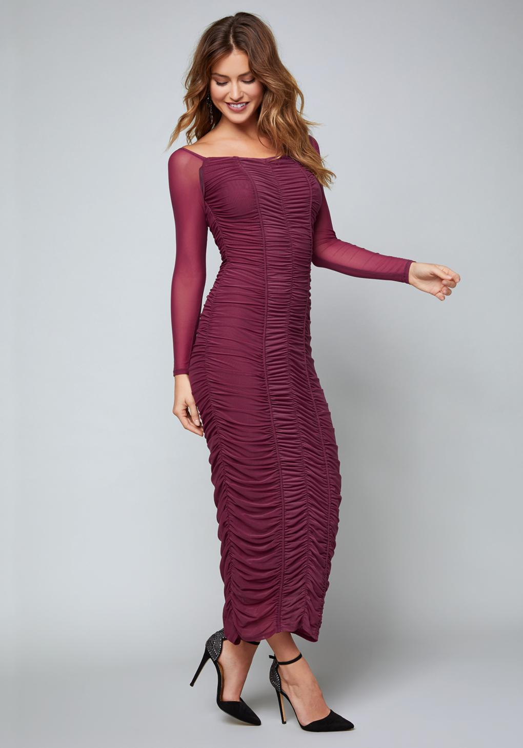 df6d5d5a5a Bebe Belle Ruched Midi Dress in Purple - Lyst